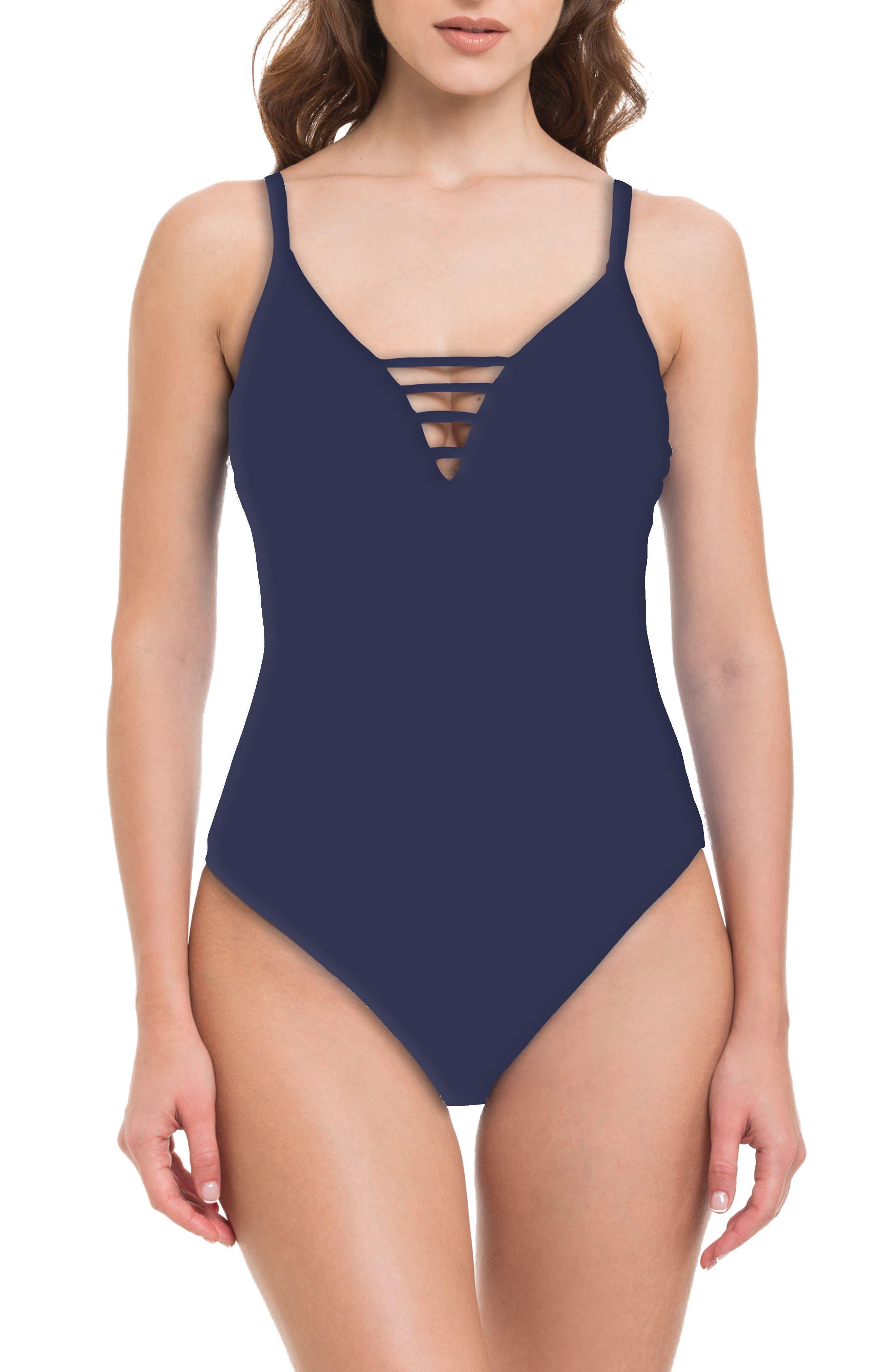 Quartzite One-Piece Swimsuit,                         Main,                         color, Navy
