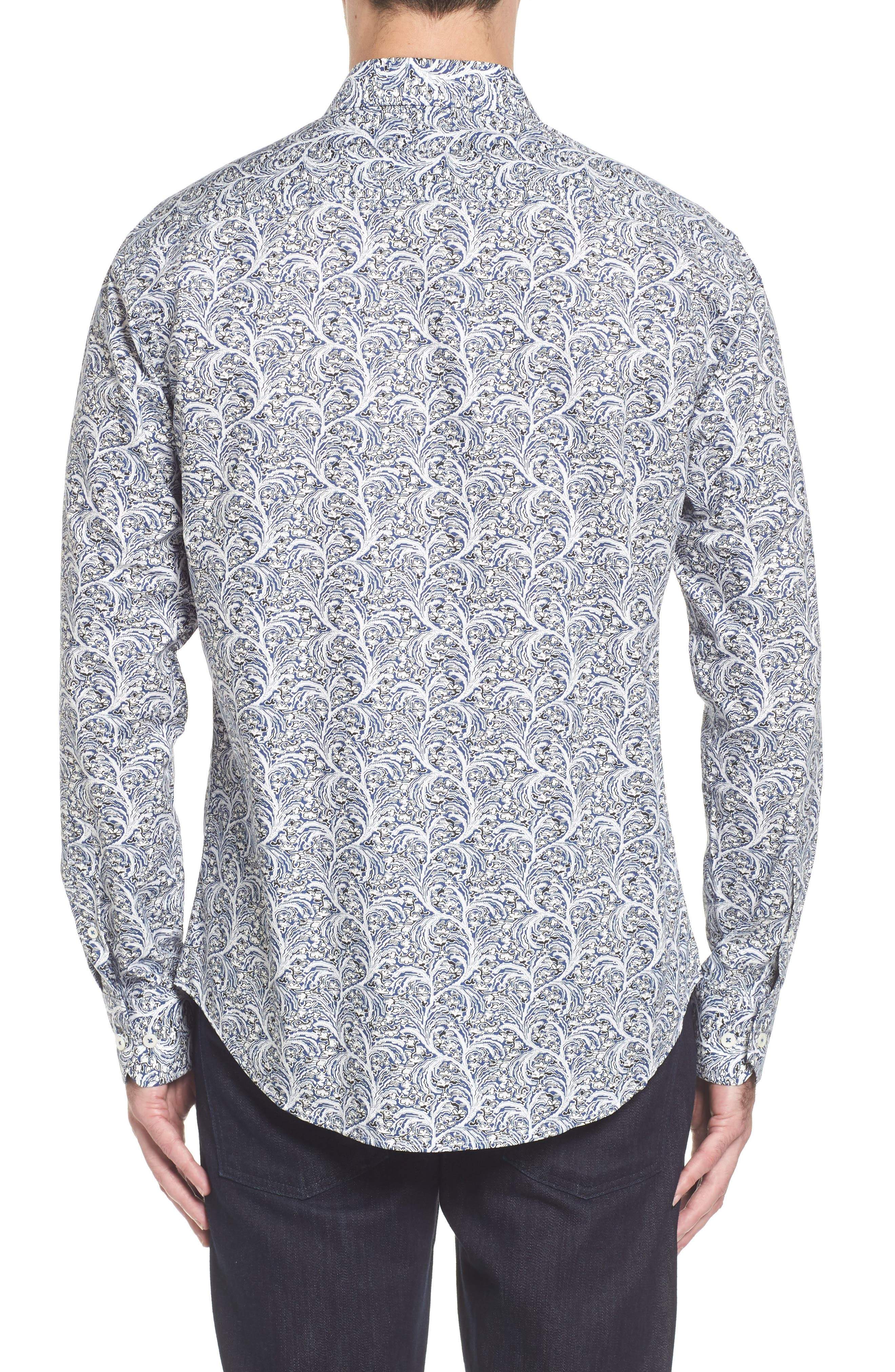 Slim Fit Print Sport Shirt,                             Alternate thumbnail 2, color,                             Navy