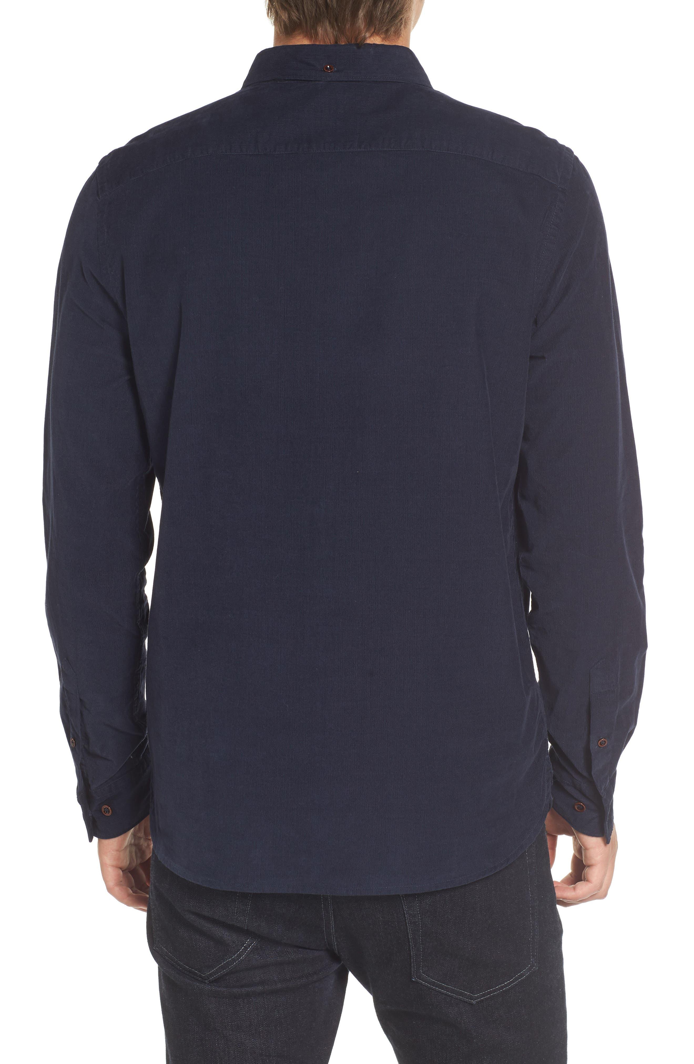 Corduroy Sport Shirt,                             Alternate thumbnail 2, color,                             Marine Blue