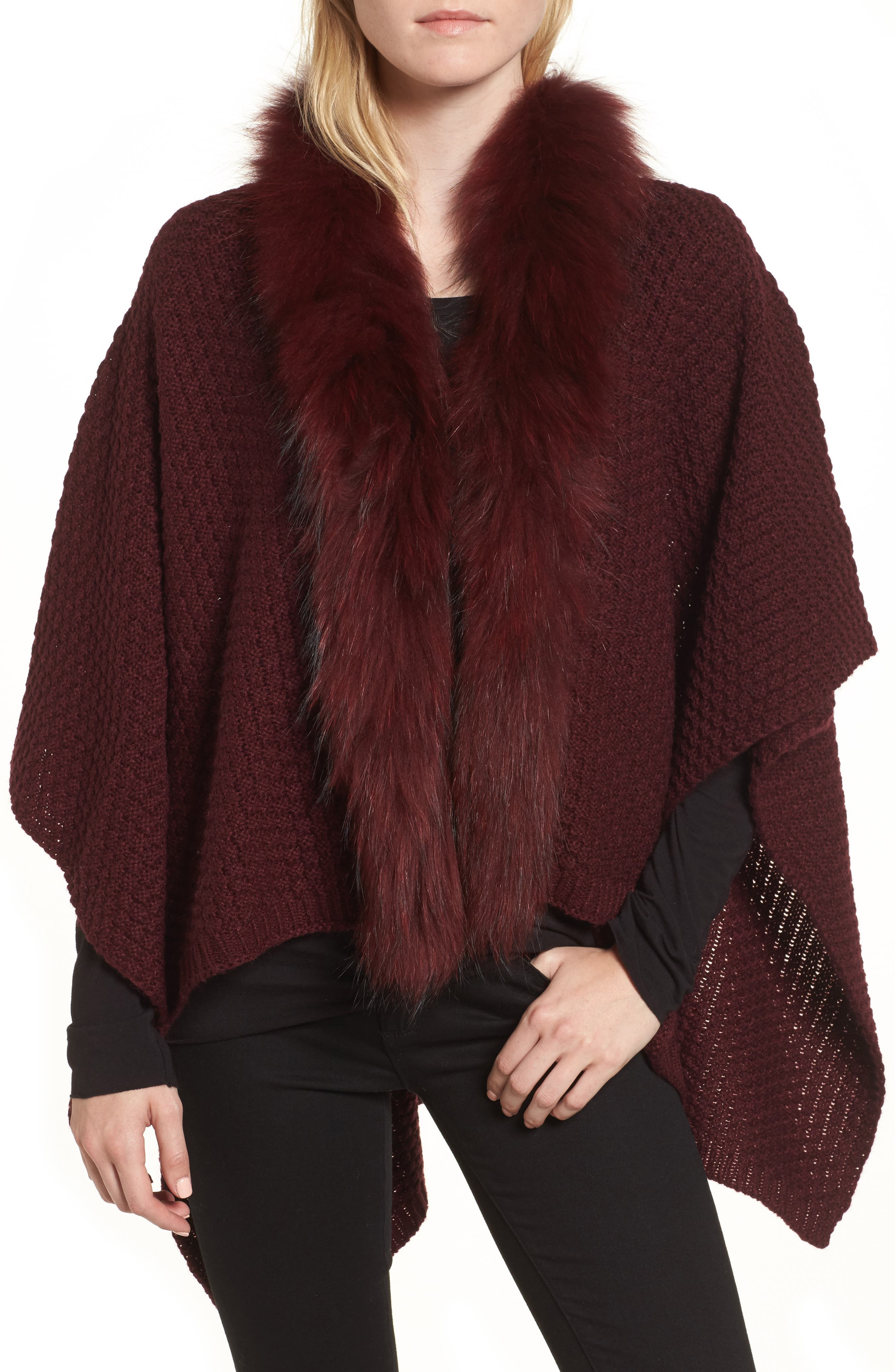 Linda Richards Genuine Raccoon Fur Trim Wrap