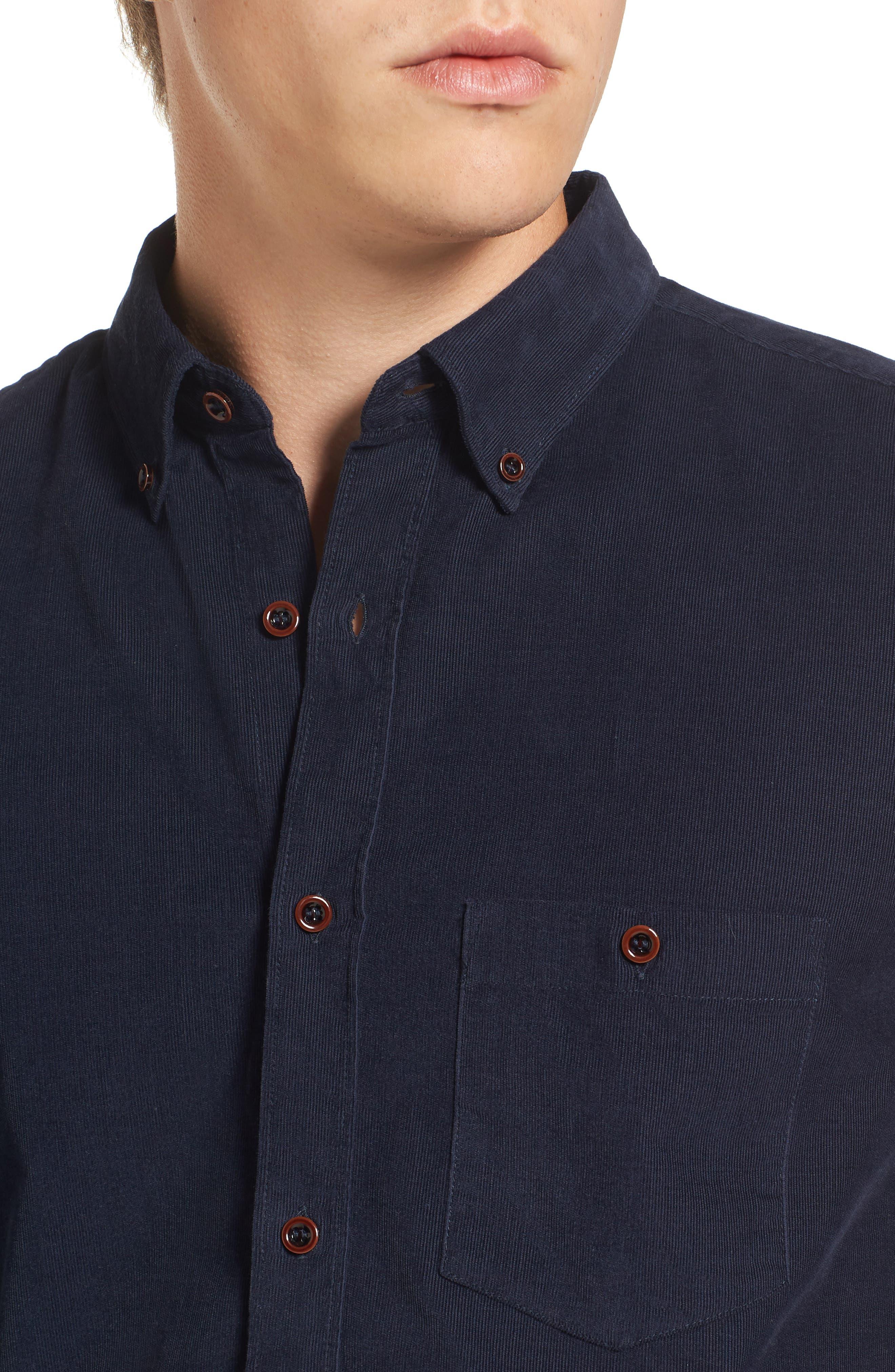 Corduroy Sport Shirt,                             Alternate thumbnail 4, color,                             Marine Blue