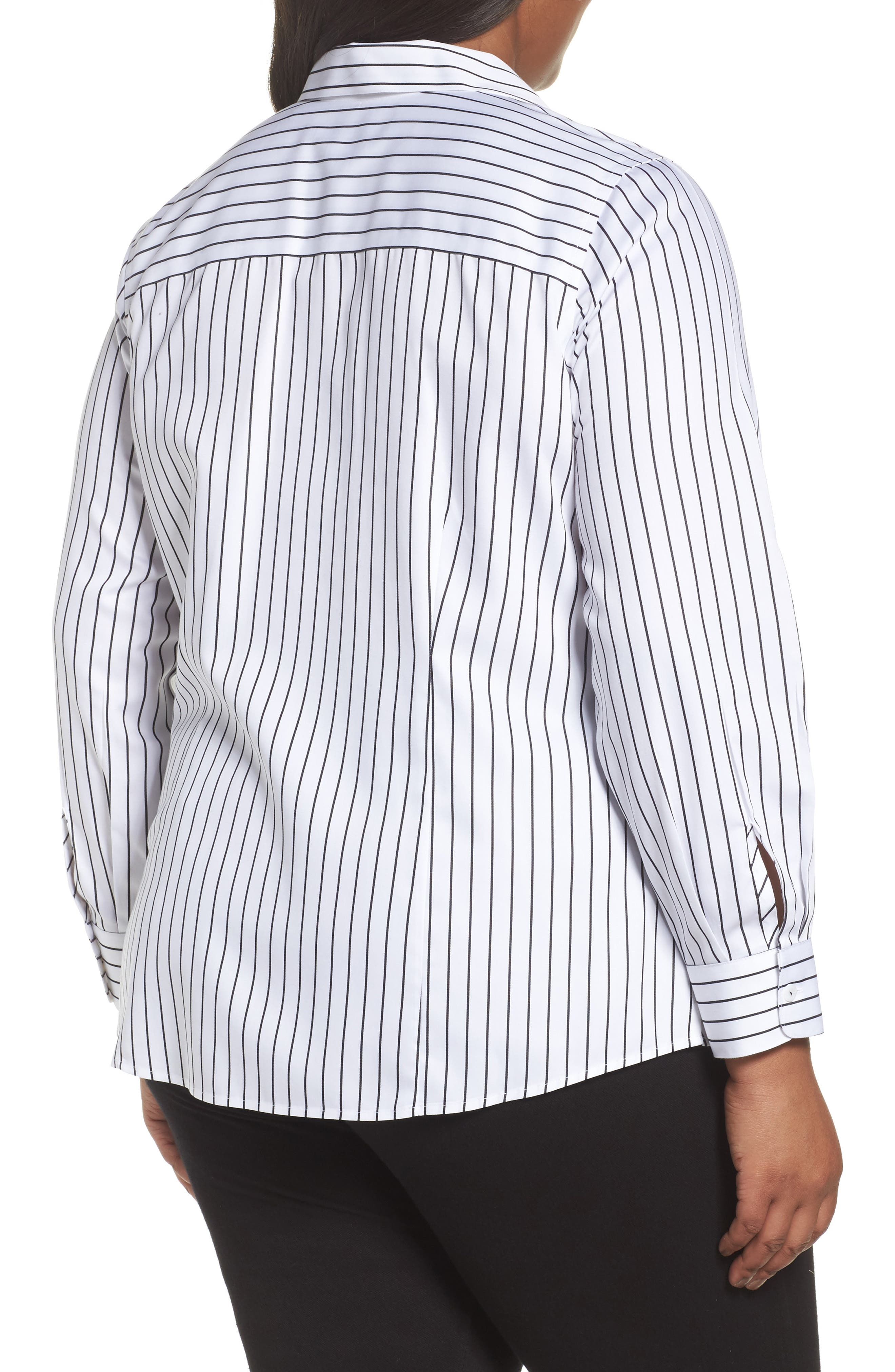Alternate Image 2  - Foxcroft Annie Holiday Stripe Shirt (Plus Size)
