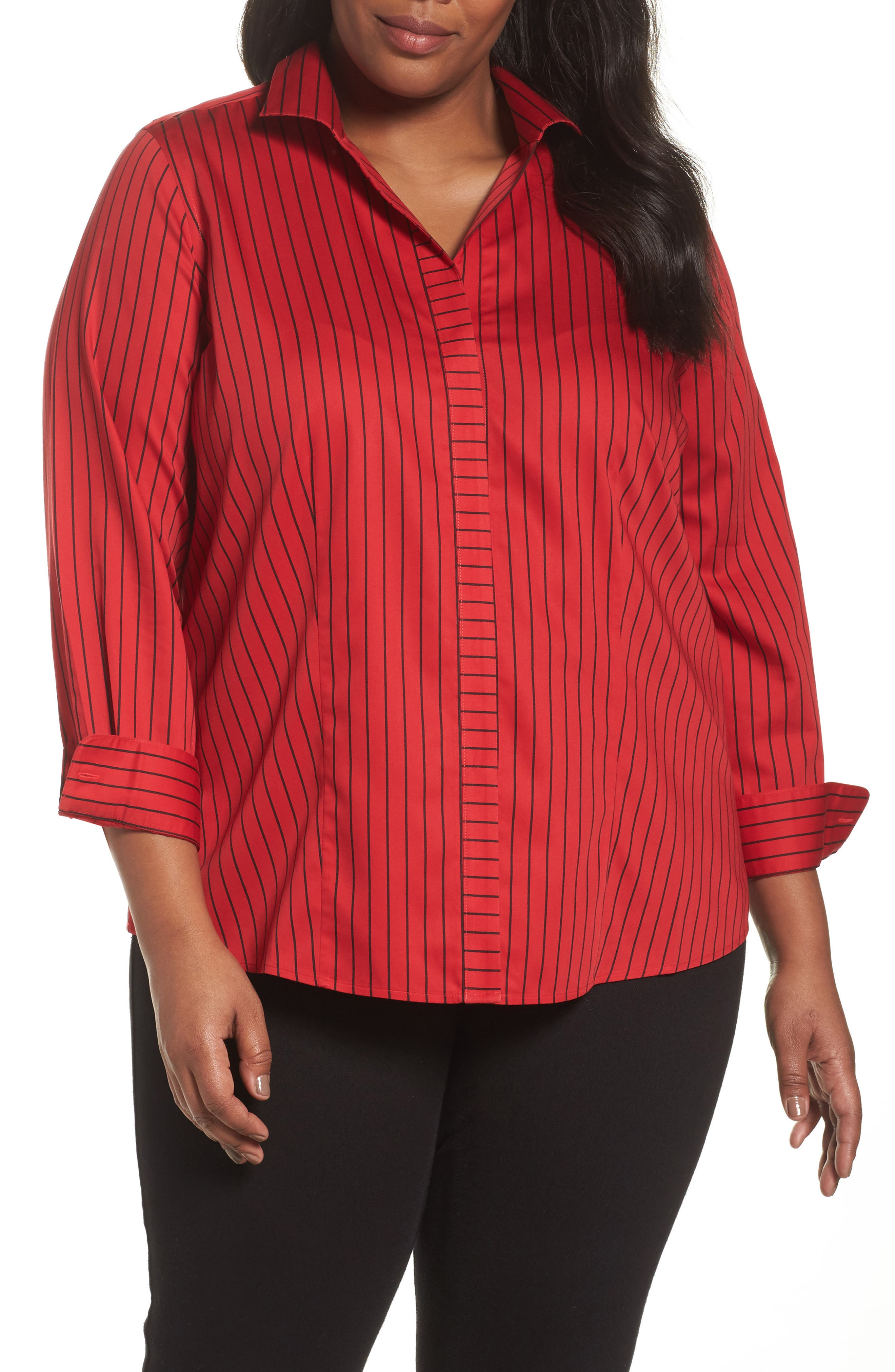 Main Image - Foxcroft Annie Holiday Stripe Shirt (Plus Size)