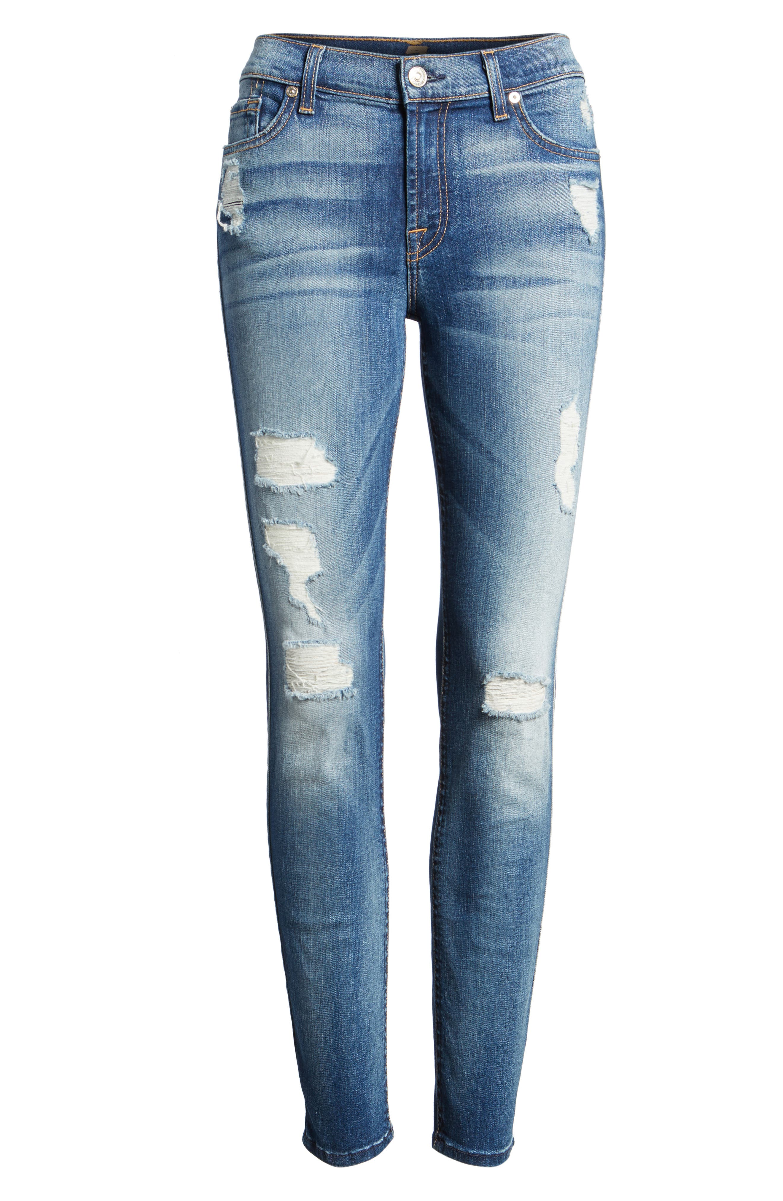 Alternate Image 3  - 7 For All Mankind® Ankle Skinny Jeans (Distressed Authentic Light)