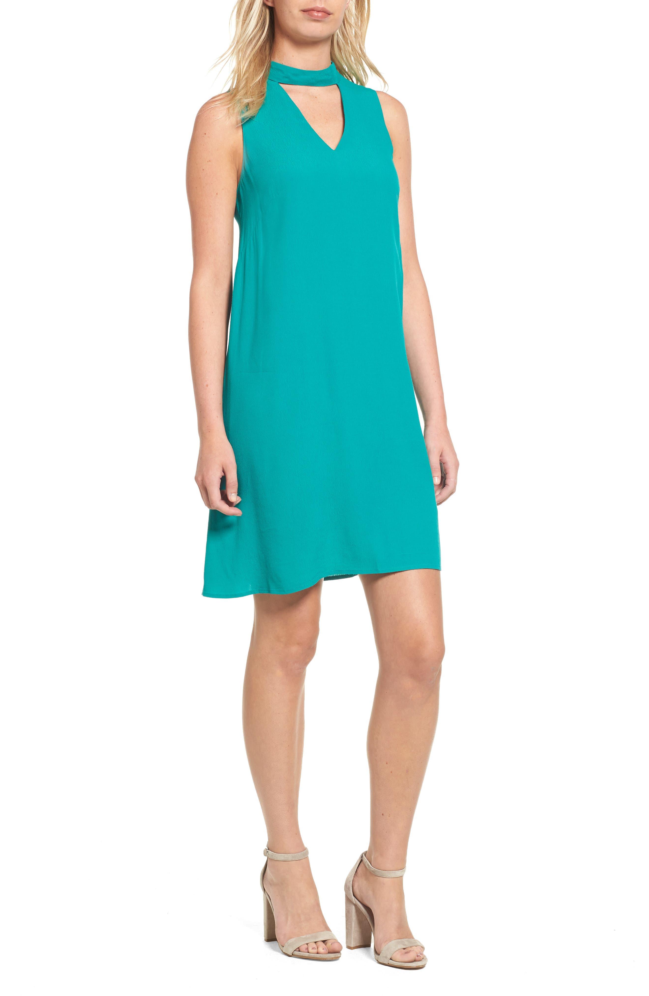 Halogen® Cutout Detail Choker Dress
