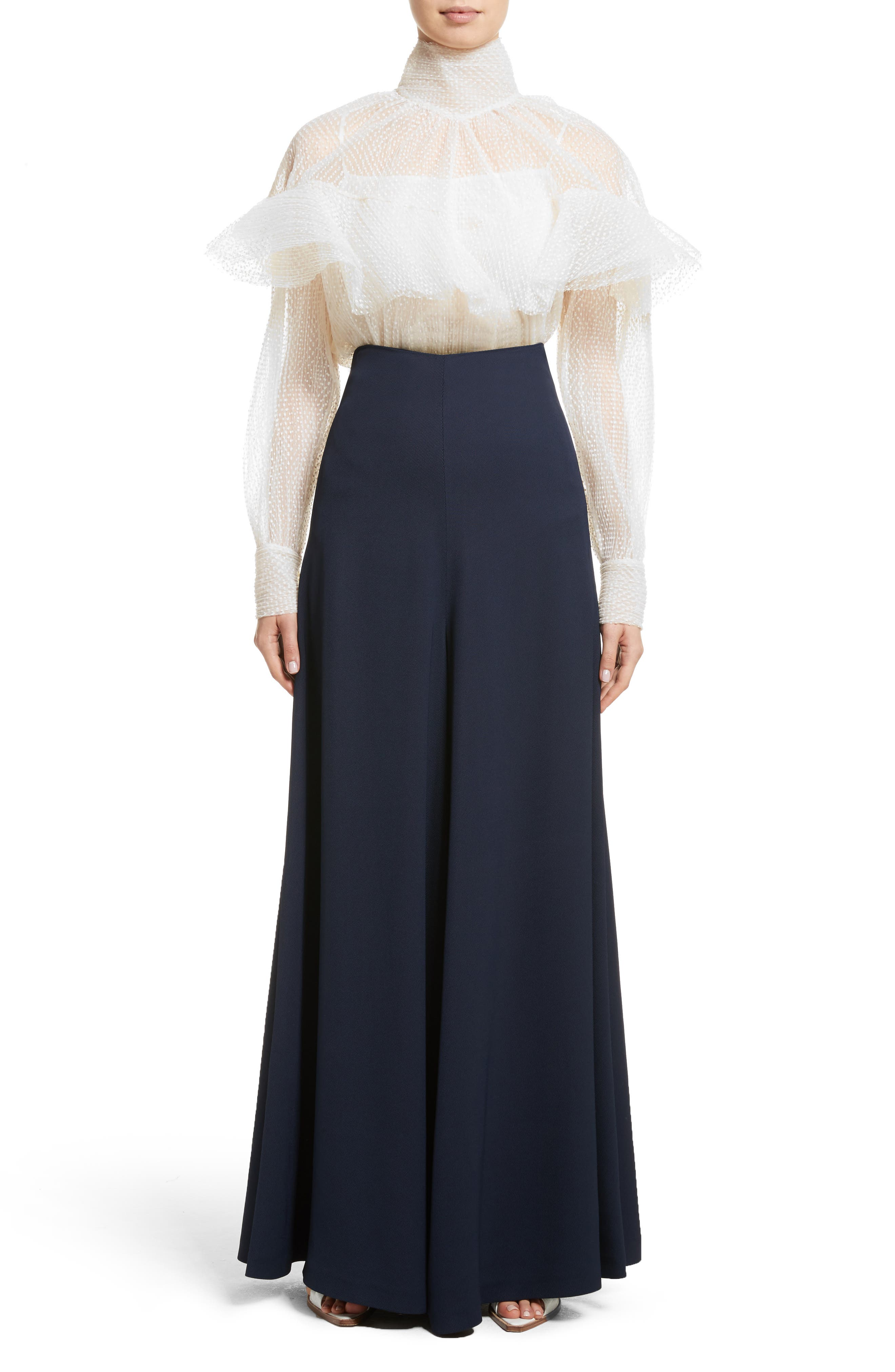 Wide Leg Trousers,                             Alternate thumbnail 7, color,                             Navy