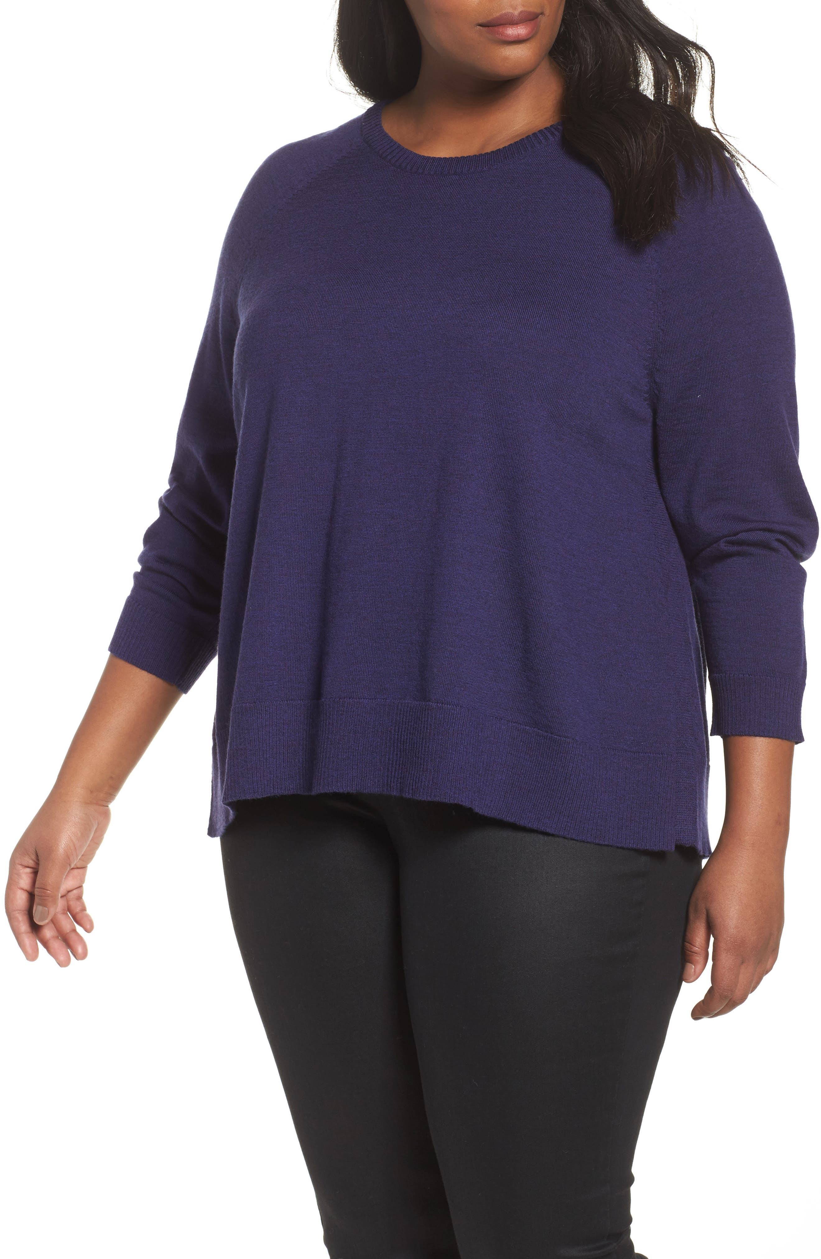 Eileen Fisher Round Neck Merino Sweater (Plus Size)