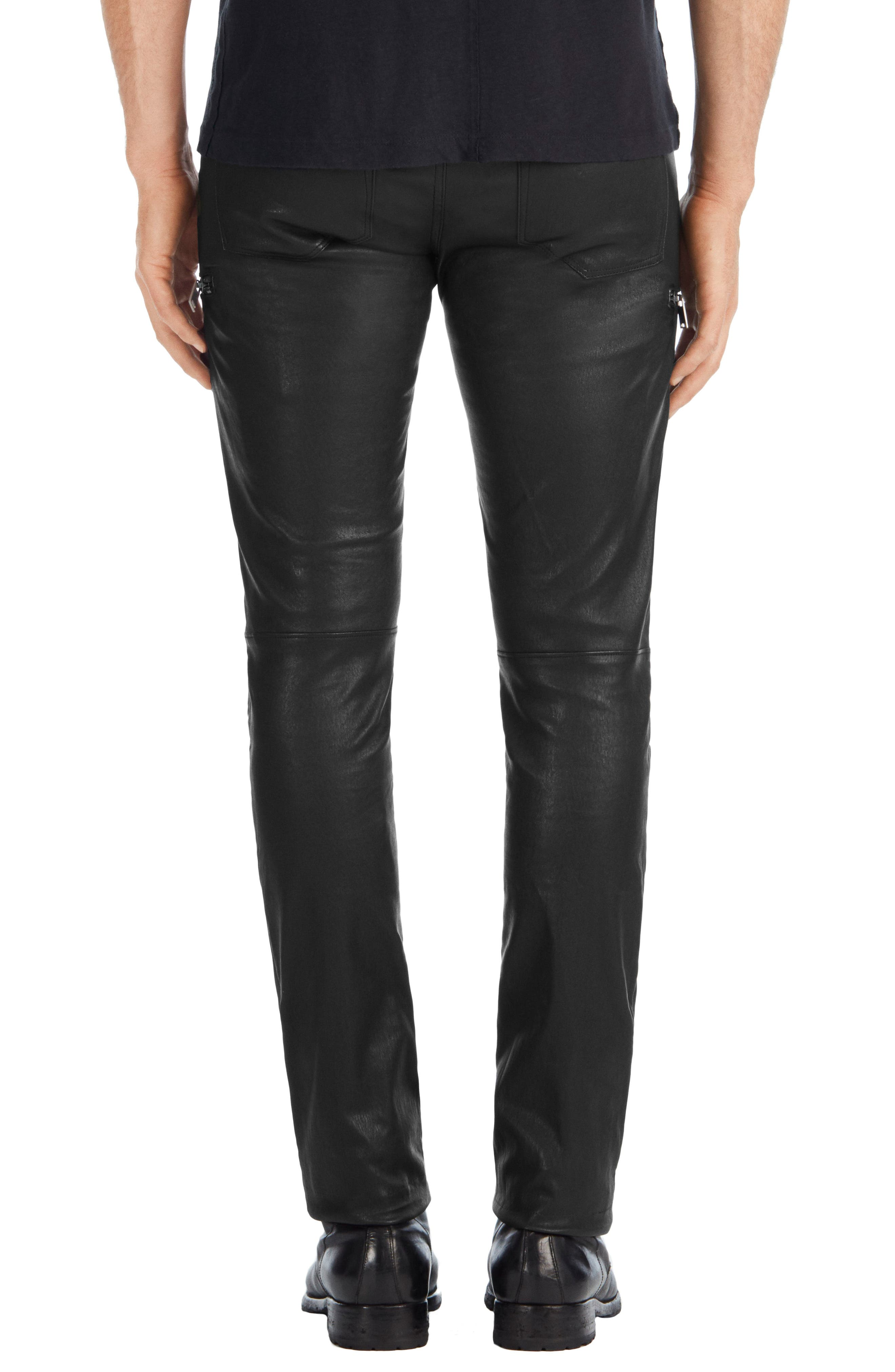 Acrux Skinny Leg Leather Pants,                             Alternate thumbnail 2, color,                             Black
