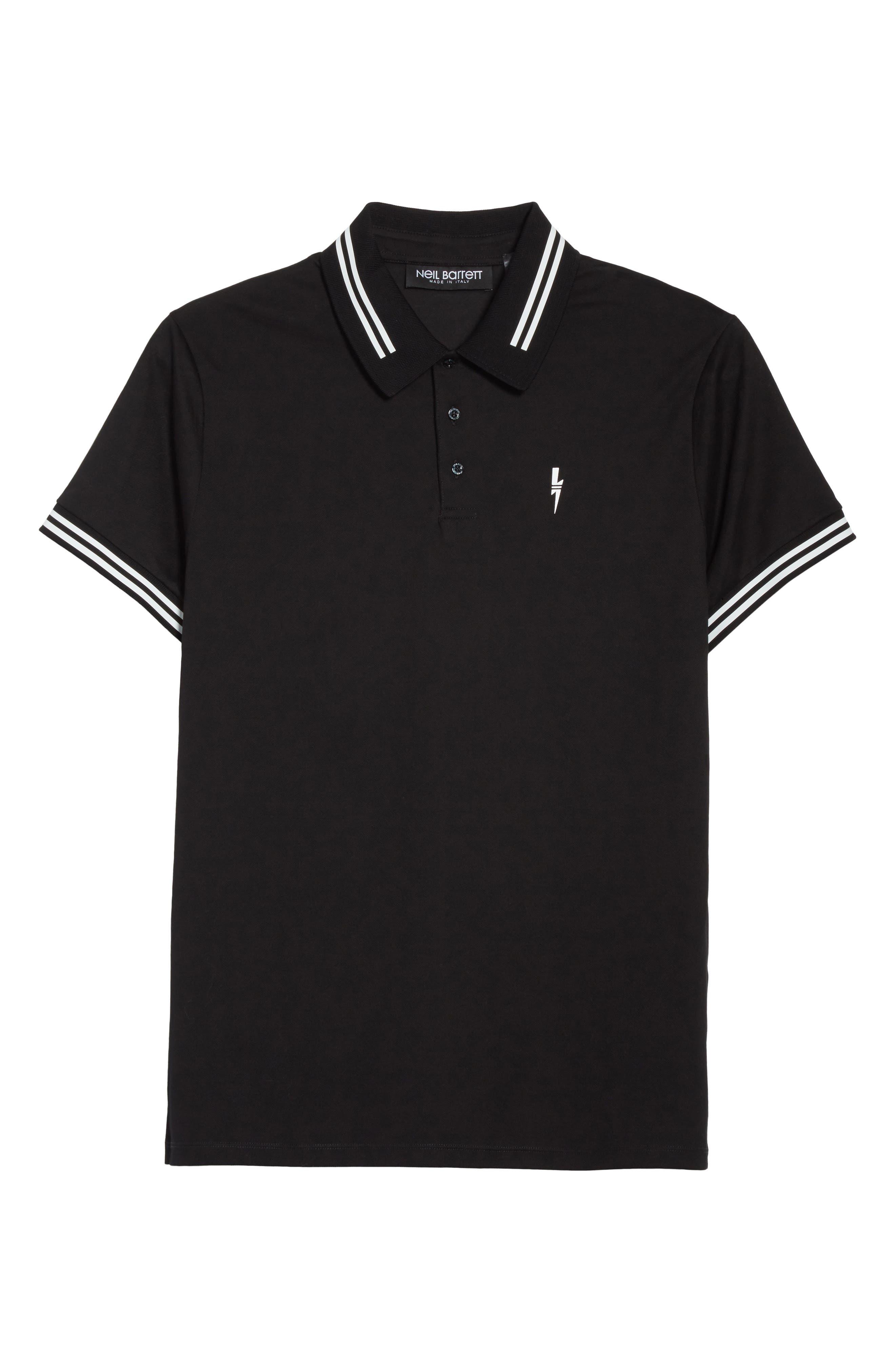 Stripe Tipped Polo,                             Alternate thumbnail 6, color,                             Black/ White