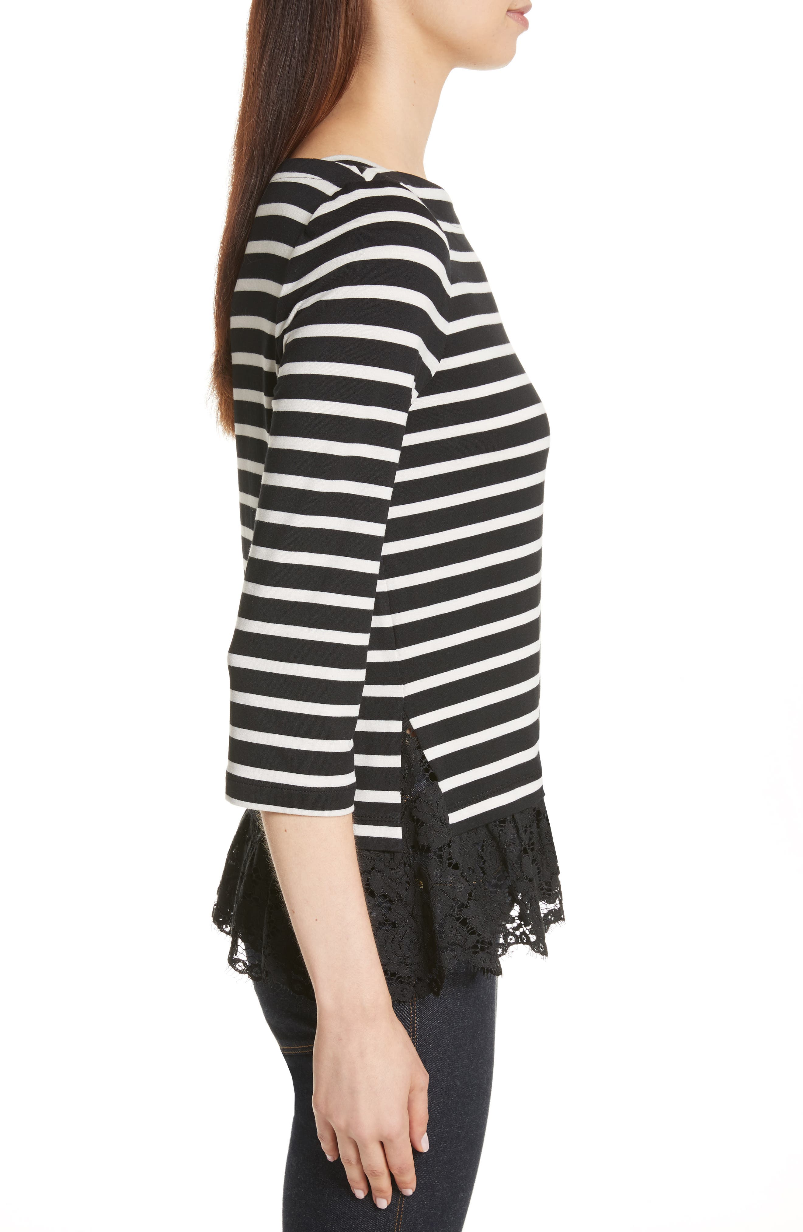 kate spade lace flounce stripe top,                             Alternate thumbnail 3, color,                             Black/ Off-White