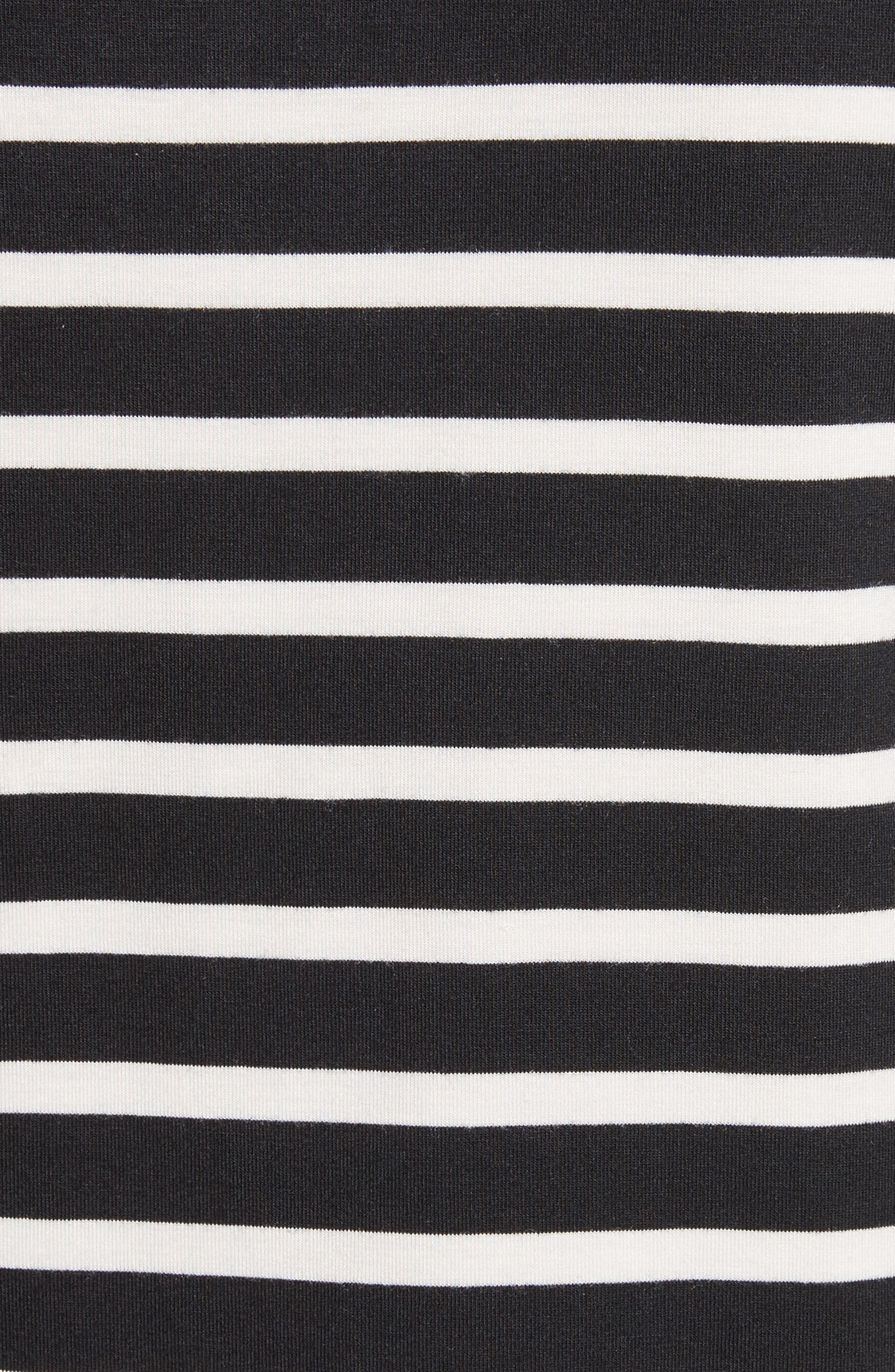 kate spade lace flounce stripe top,                             Alternate thumbnail 5, color,                             Black/ Off-White