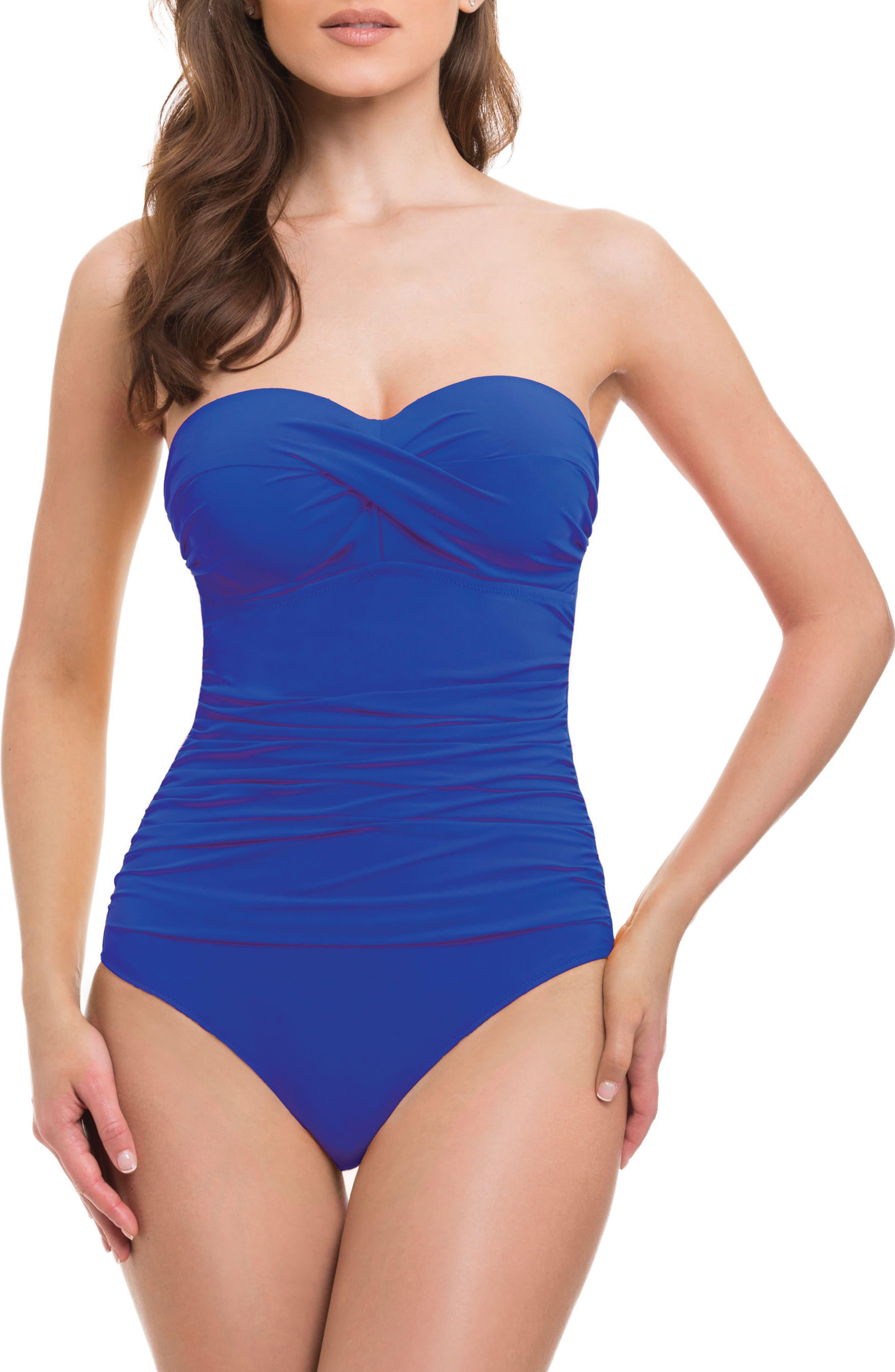 Bandeau One-Piece Swimsuit,                         Main,                         color, Royal