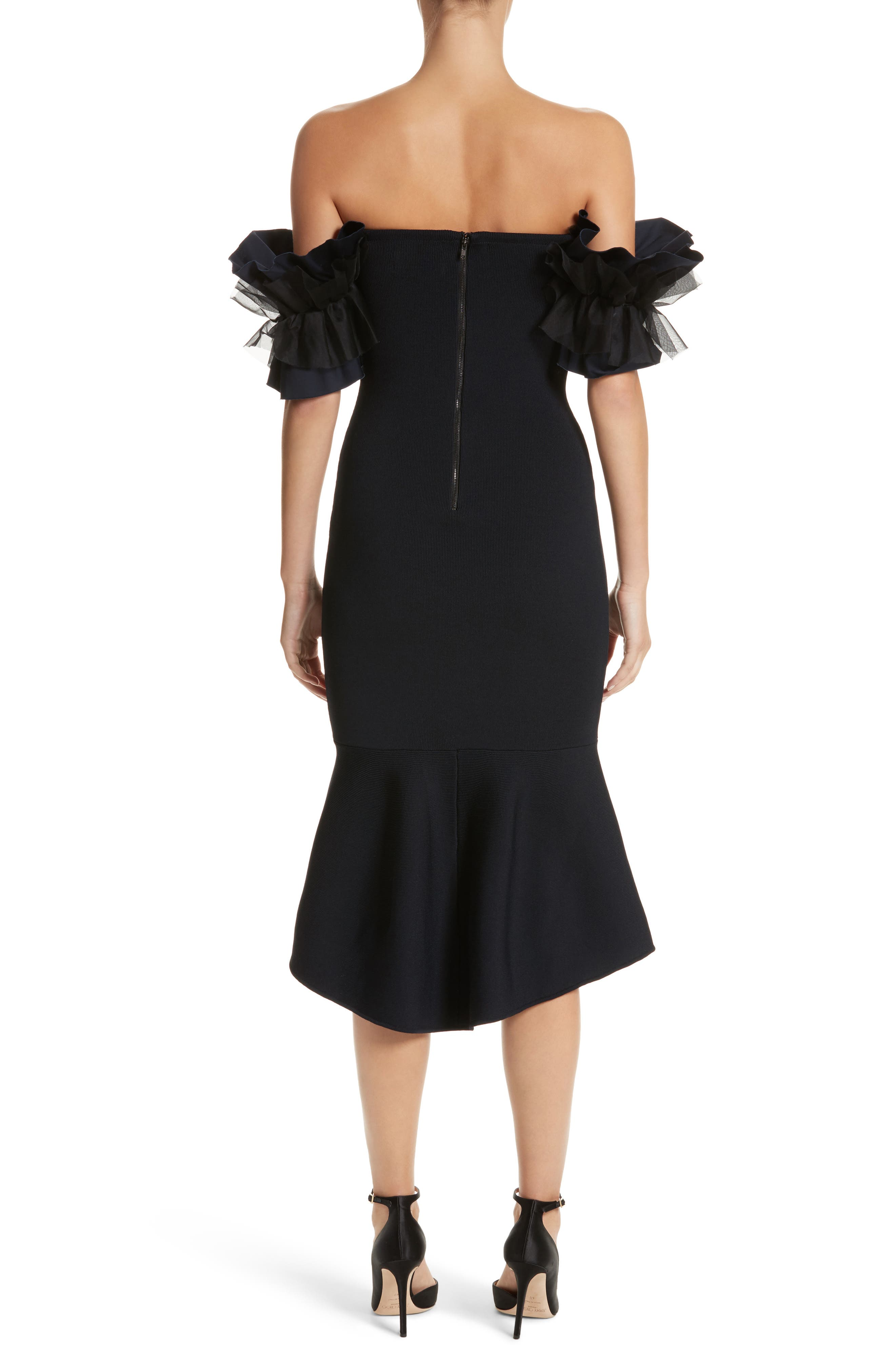 Ruffle Sleeve Off the Shoulder Dress,                             Alternate thumbnail 2, color,                             Midnight