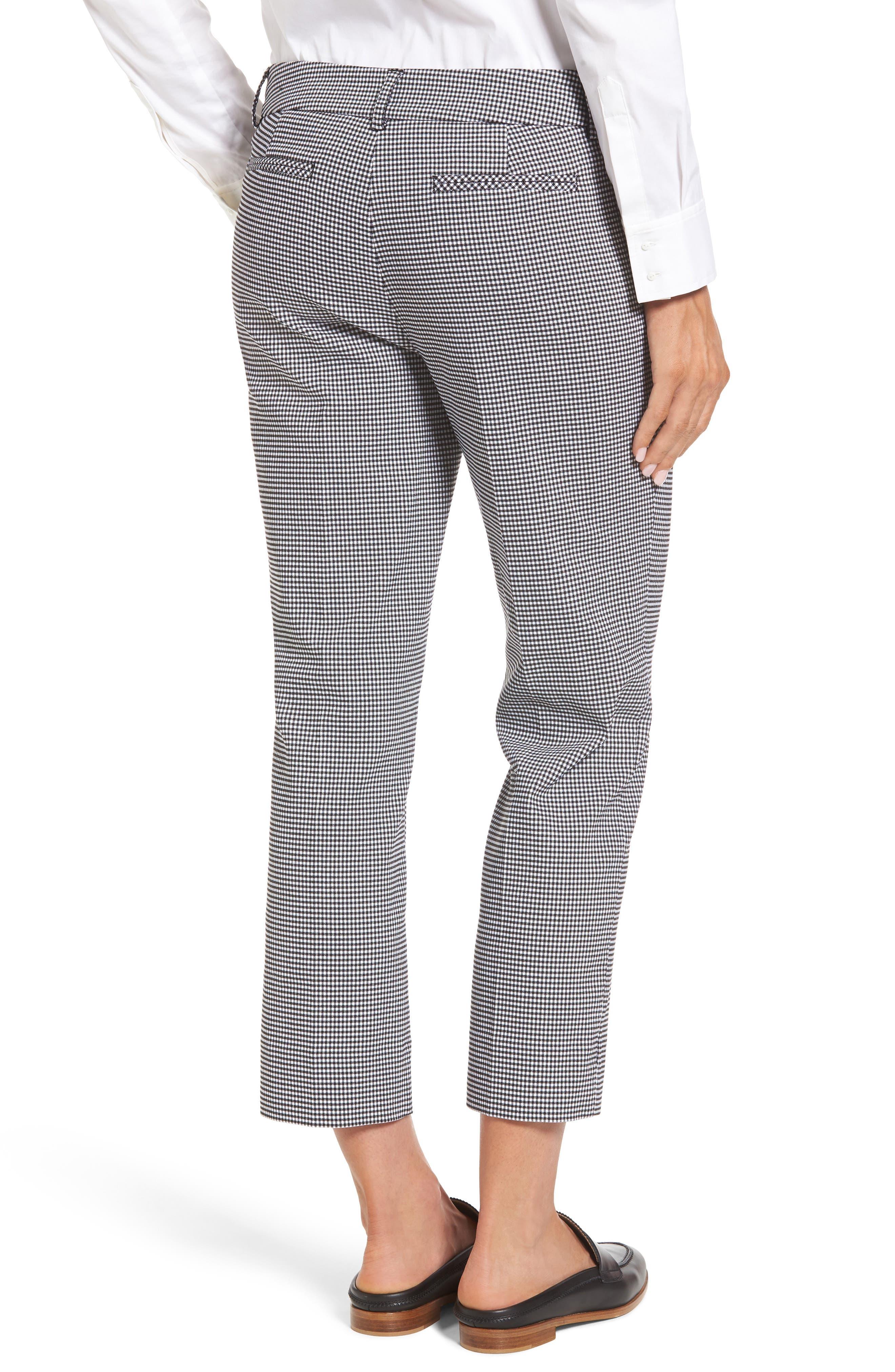 Crop Stretch Cotton Pants,                             Alternate thumbnail 2, color,                             Black- White Gingham