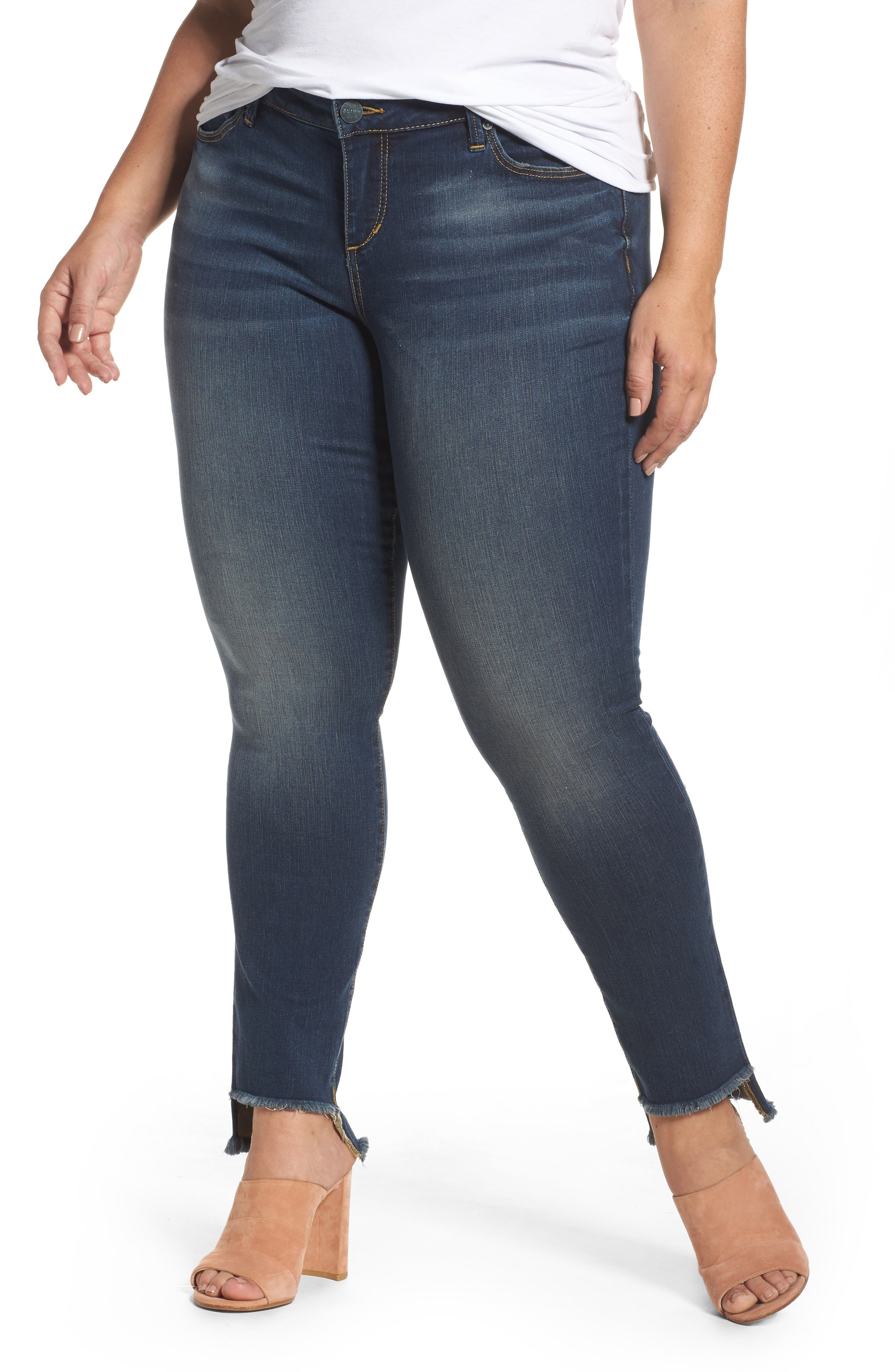 Alternate Image 1 Selected - SLINK Jeans Step Hem Skinny Jeans (Danielle) (Plus Size)