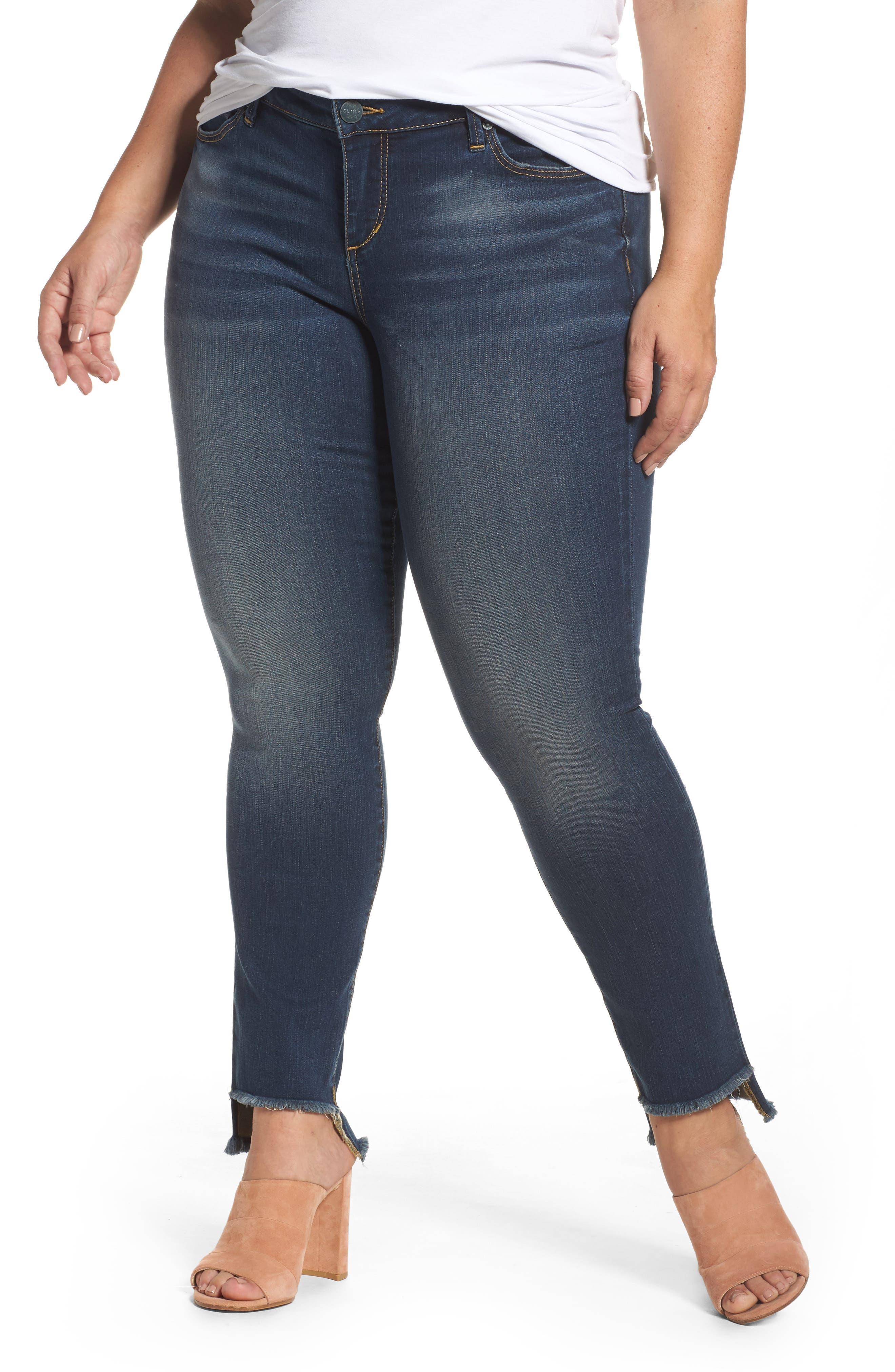 Main Image - SLINK Jeans Step Hem Skinny Jeans (Danielle) (Plus Size)