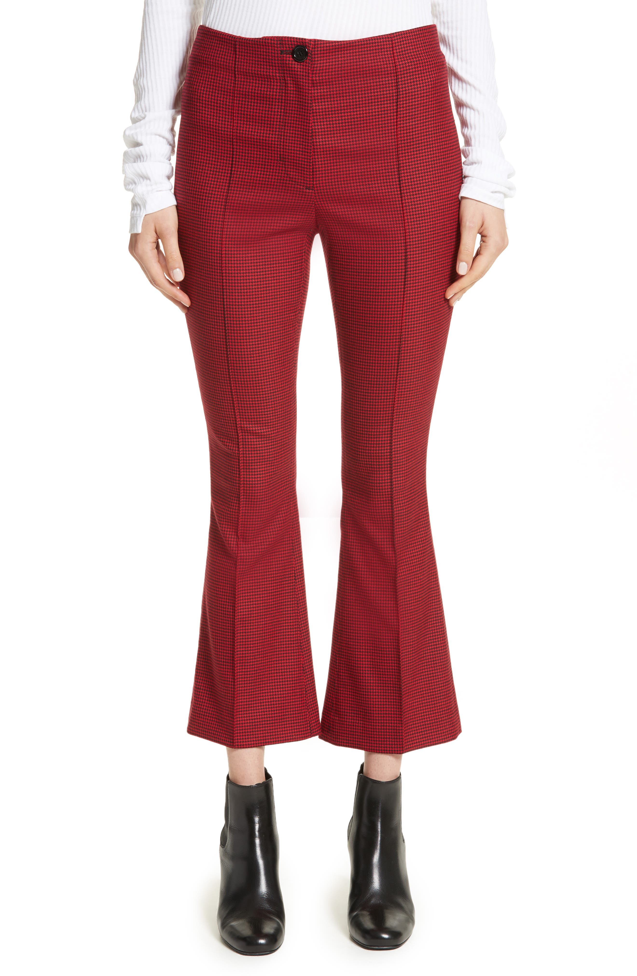 Mini Houndstooth Crop Flare Pants,                         Main,                         color, Amaryllis Multi