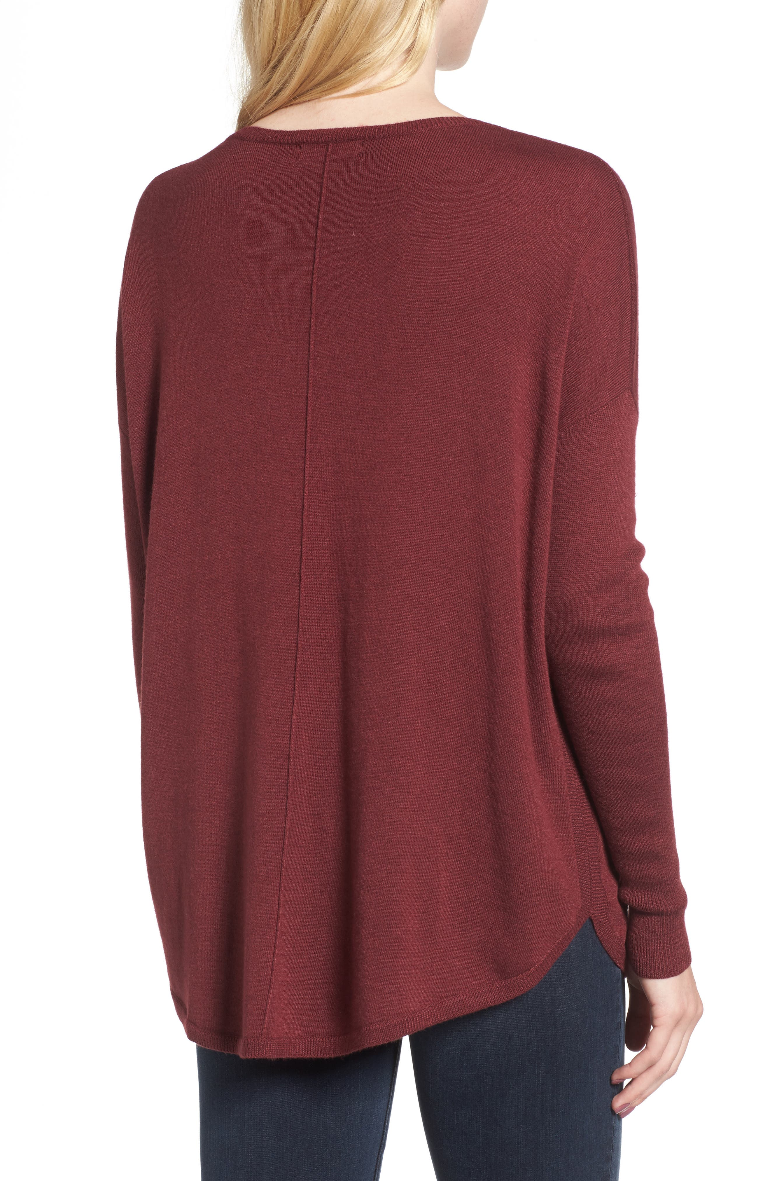 'Everyday' V-Neck Sweater,                             Alternate thumbnail 2, color,                             Burgundy London