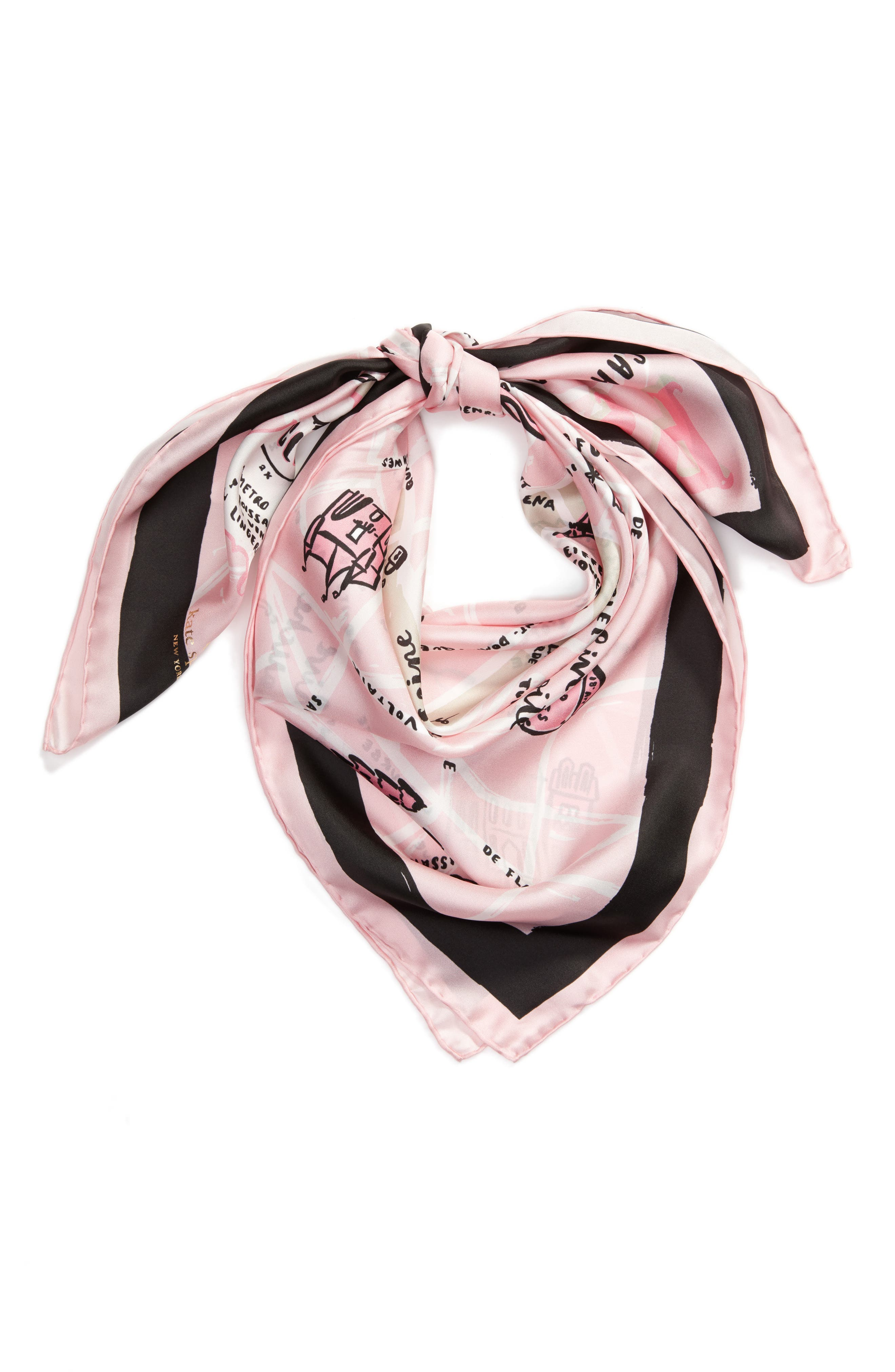 paris map silk square scarf,                             Alternate thumbnail 3, color,                             Cream