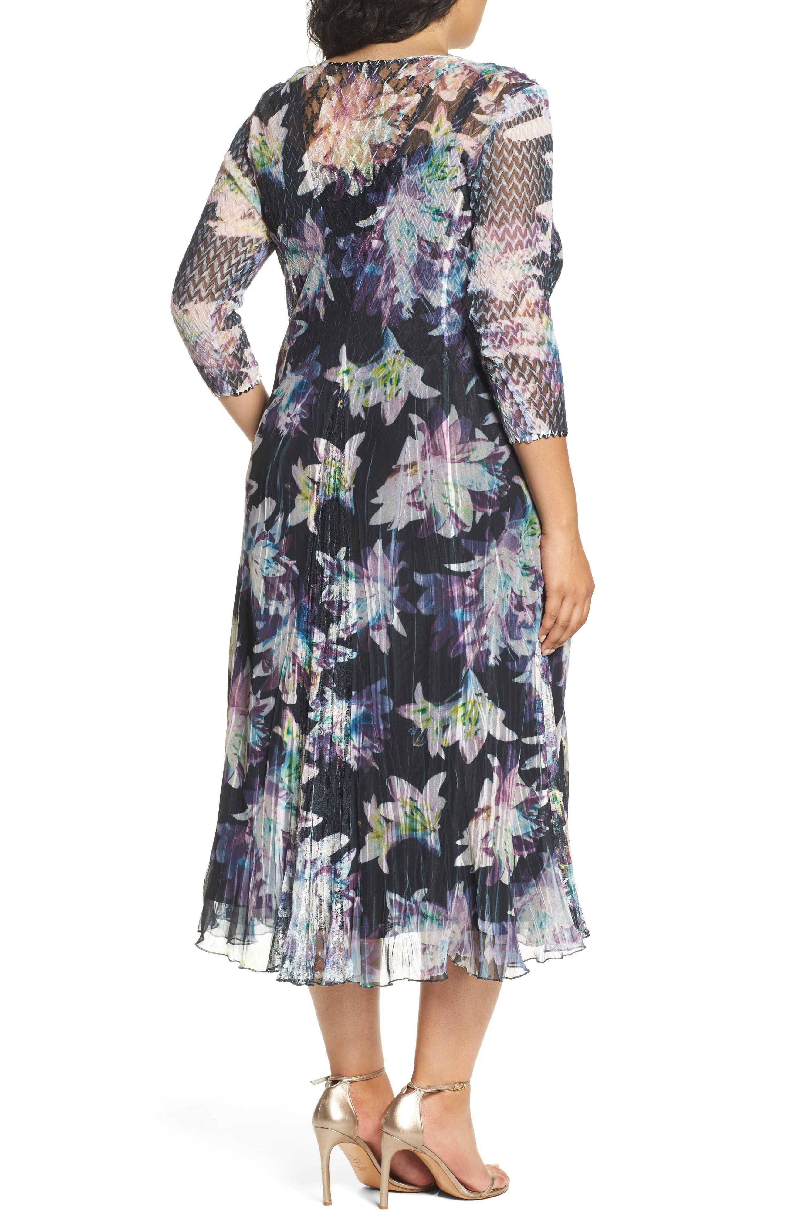 Alternate Image 2  - Komarov Floral Charmeuse & Chiffon A-Line Dress (Plus Size)