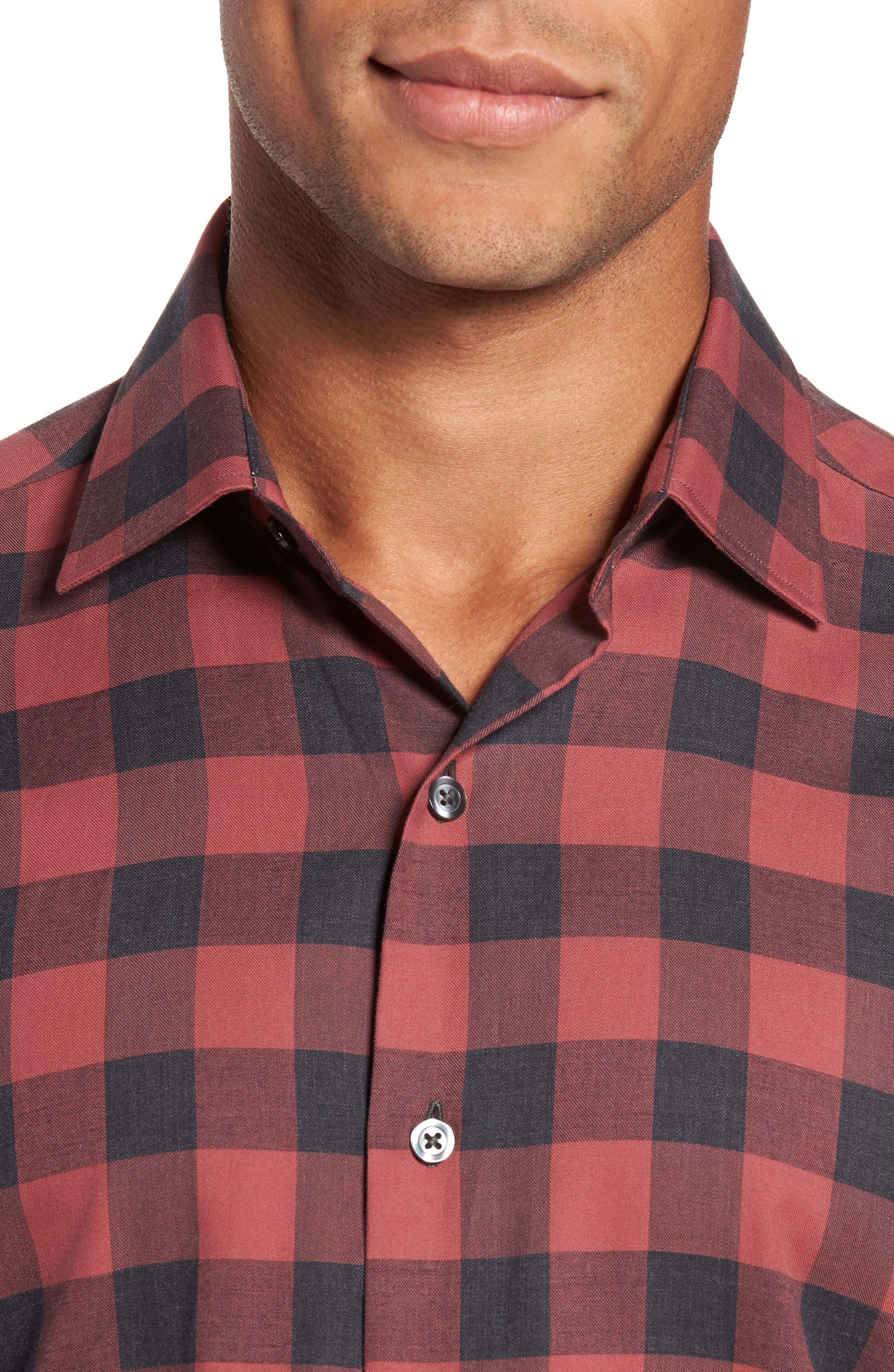 Slim Fit Buffalo Check Sport Shirt,                             Alternate thumbnail 4, color,                             Terracotta