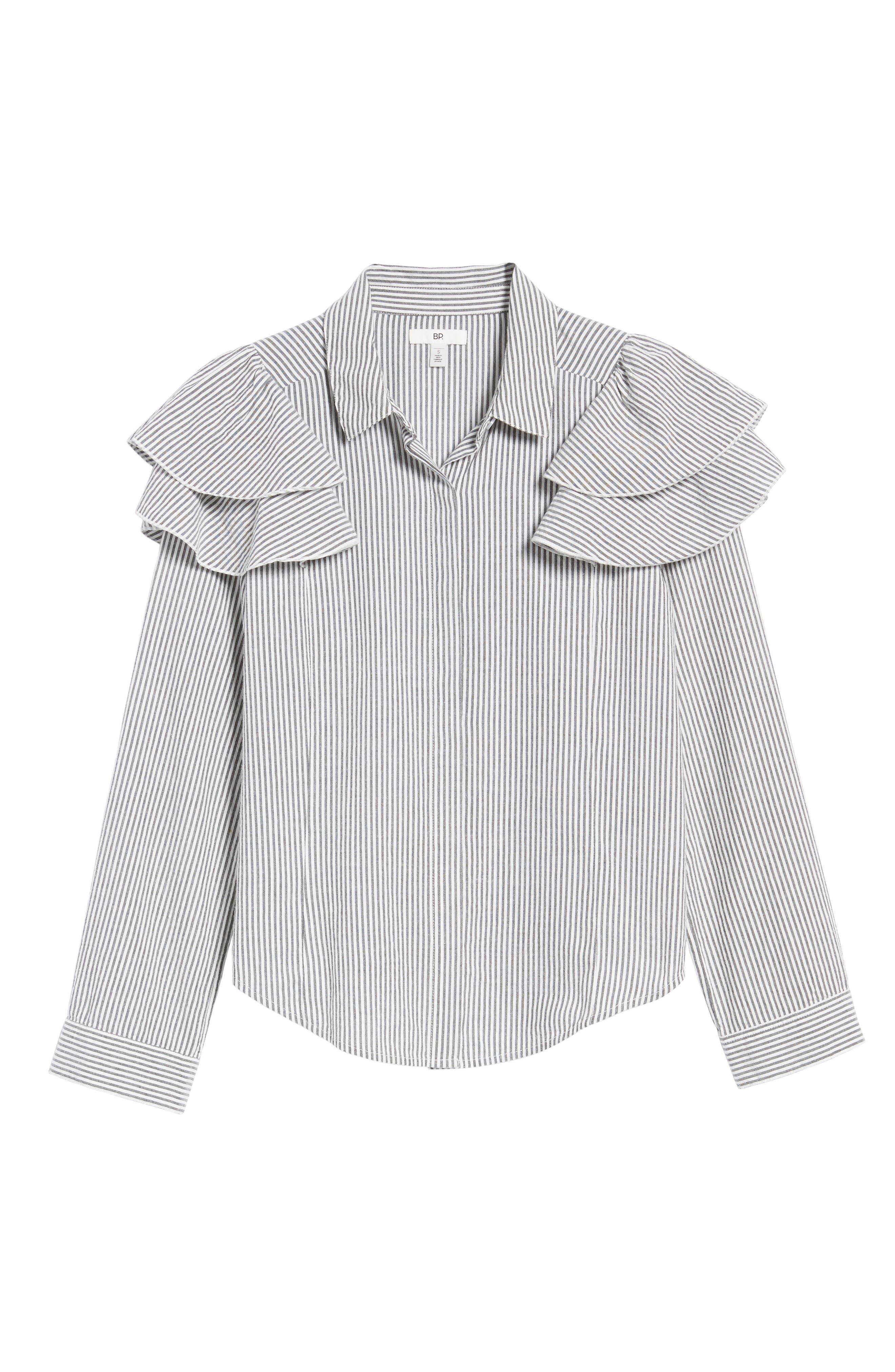 Ruffle Shoulder Shirt,                             Alternate thumbnail 6, color,                             Ivory Egret Katie Stripe