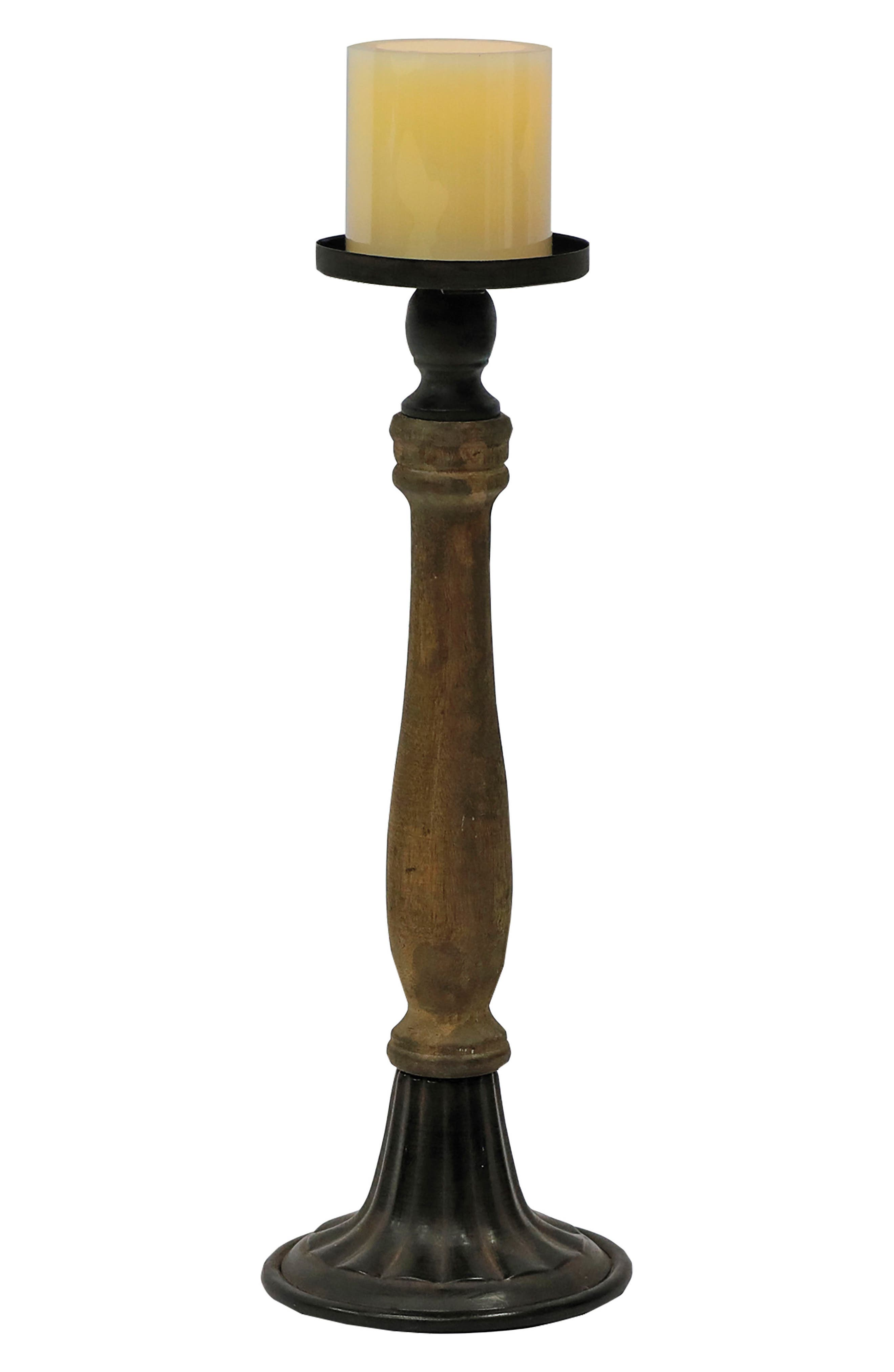 Small Spindle Pillar Candle Holder,                             Main thumbnail 1, color,                             Wood/ Metal