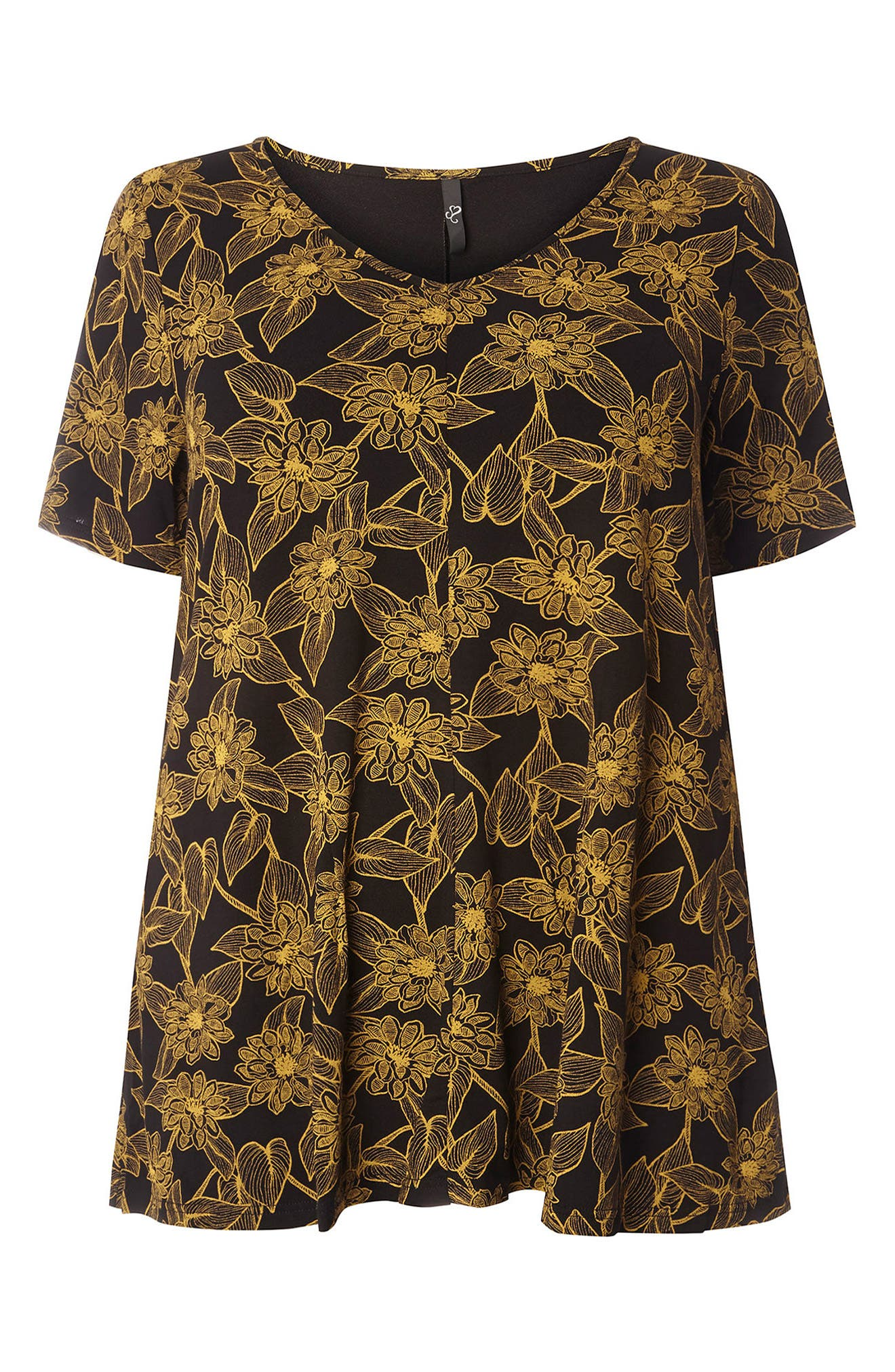 Floral Print Top,                             Alternate thumbnail 5, color,                             Yellow