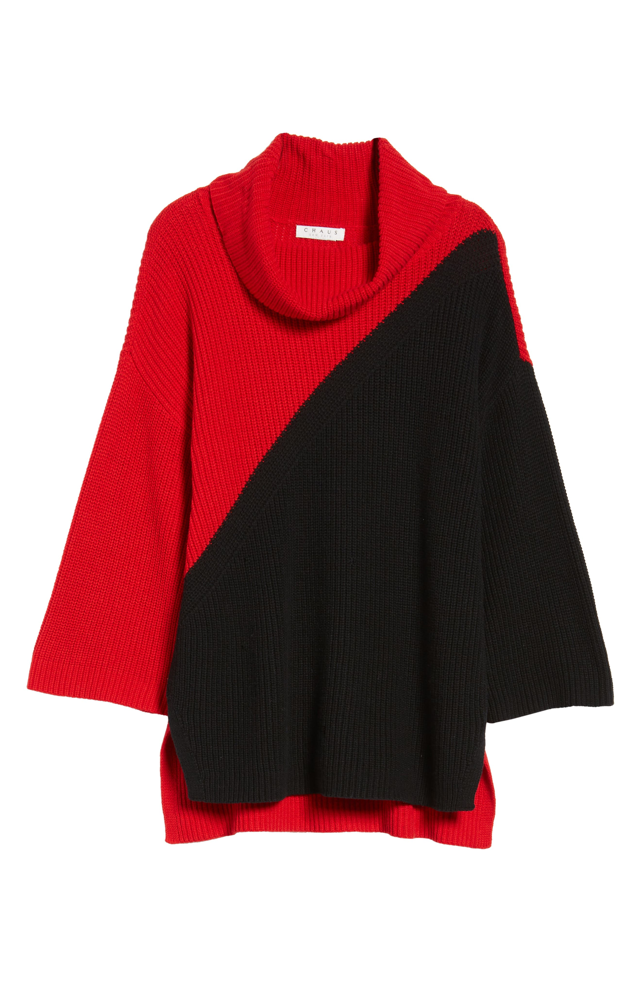 Colorblock Cowl Neck Sweater,                             Alternate thumbnail 6, color,                             Rouge