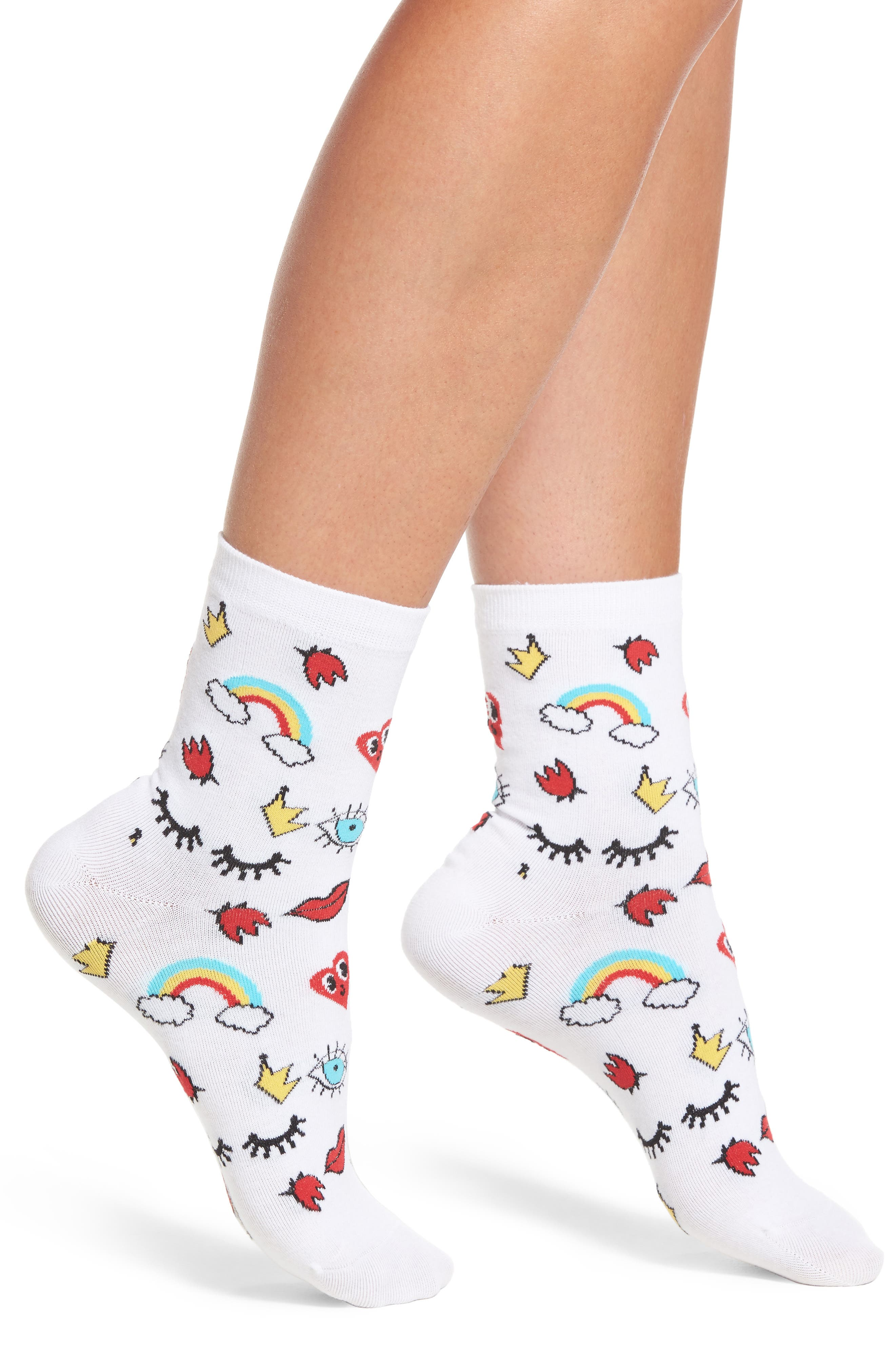 Eyes Lips Crowns Ankle Socks,                             Main thumbnail 1, color,                             White