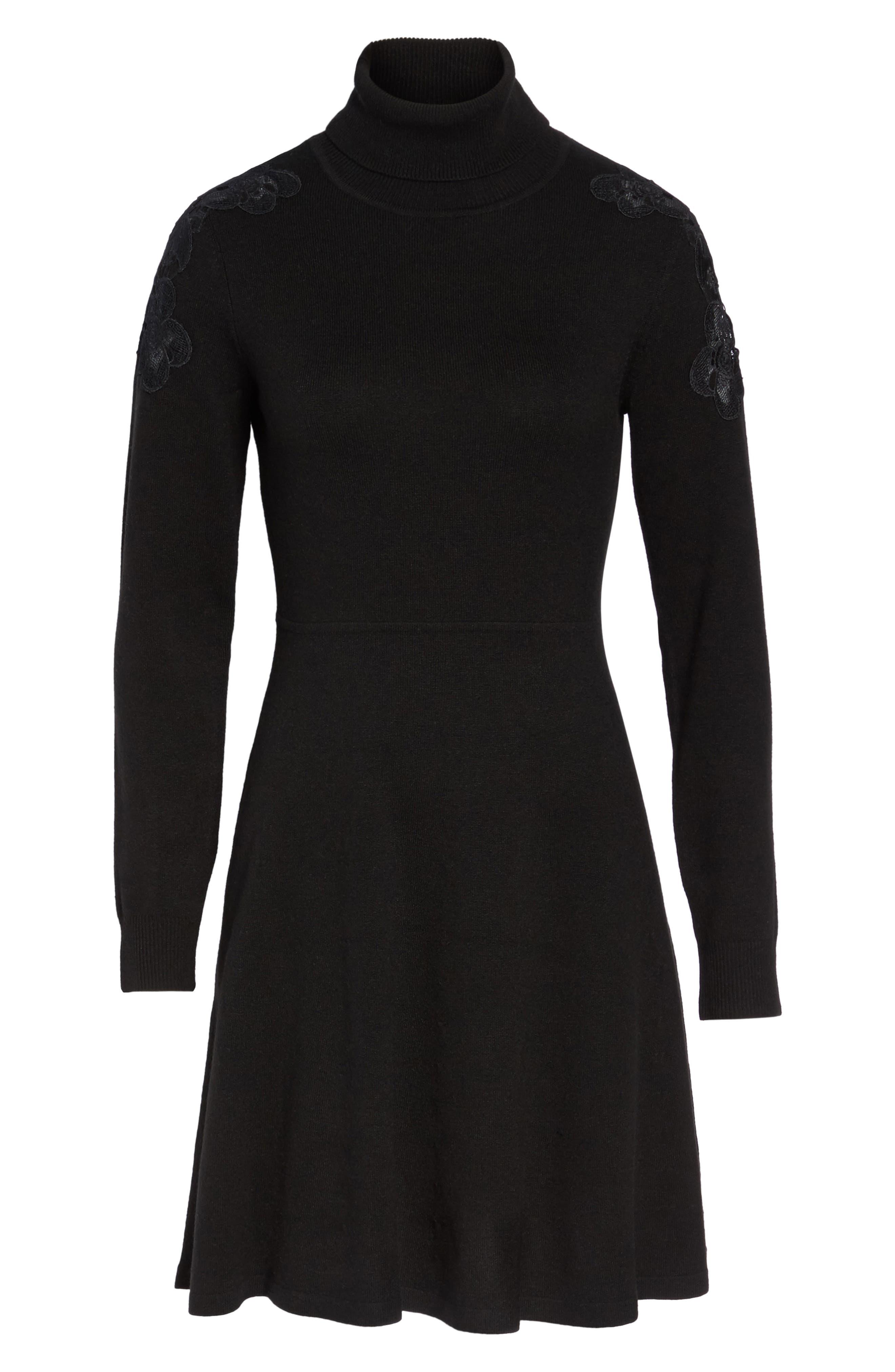 Alternate Image 6  - Eliza J Lace Shoulder Turtleneck Sweater Dress