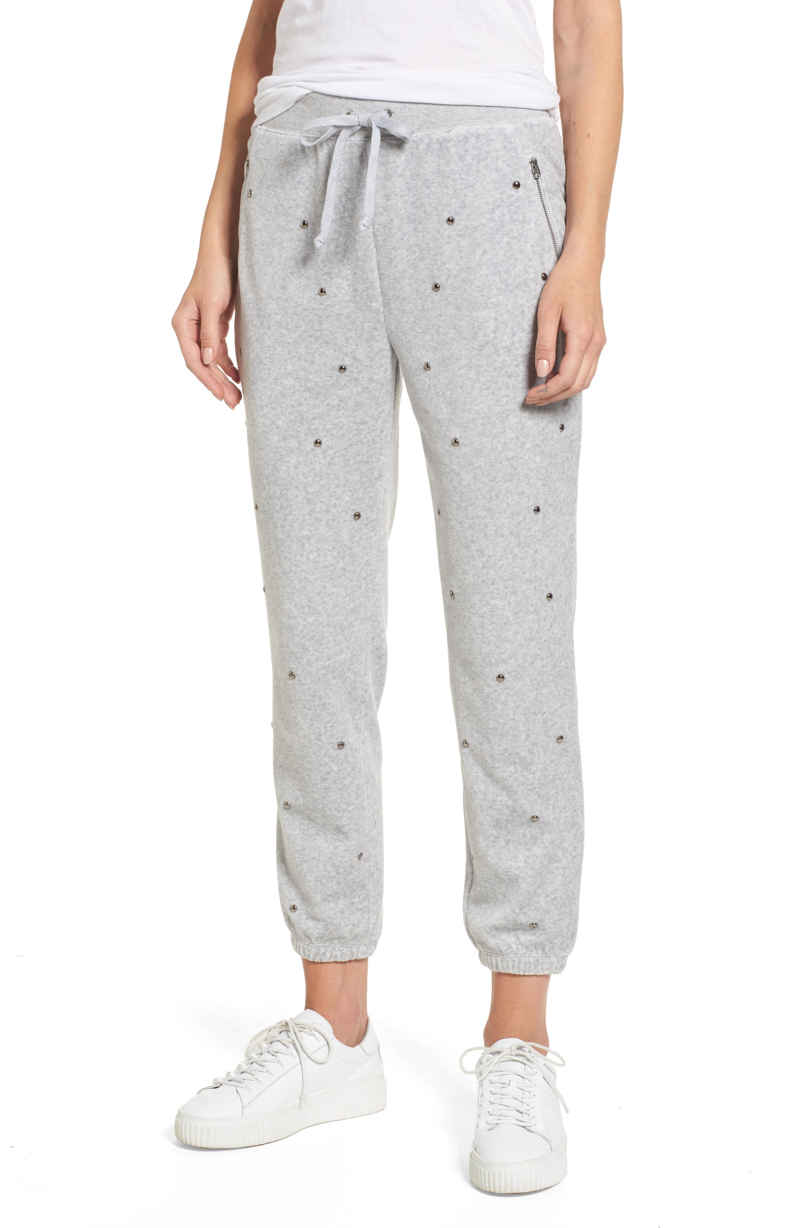 Velour Studded Track Pants,                         Main,                         color, Silver Lining