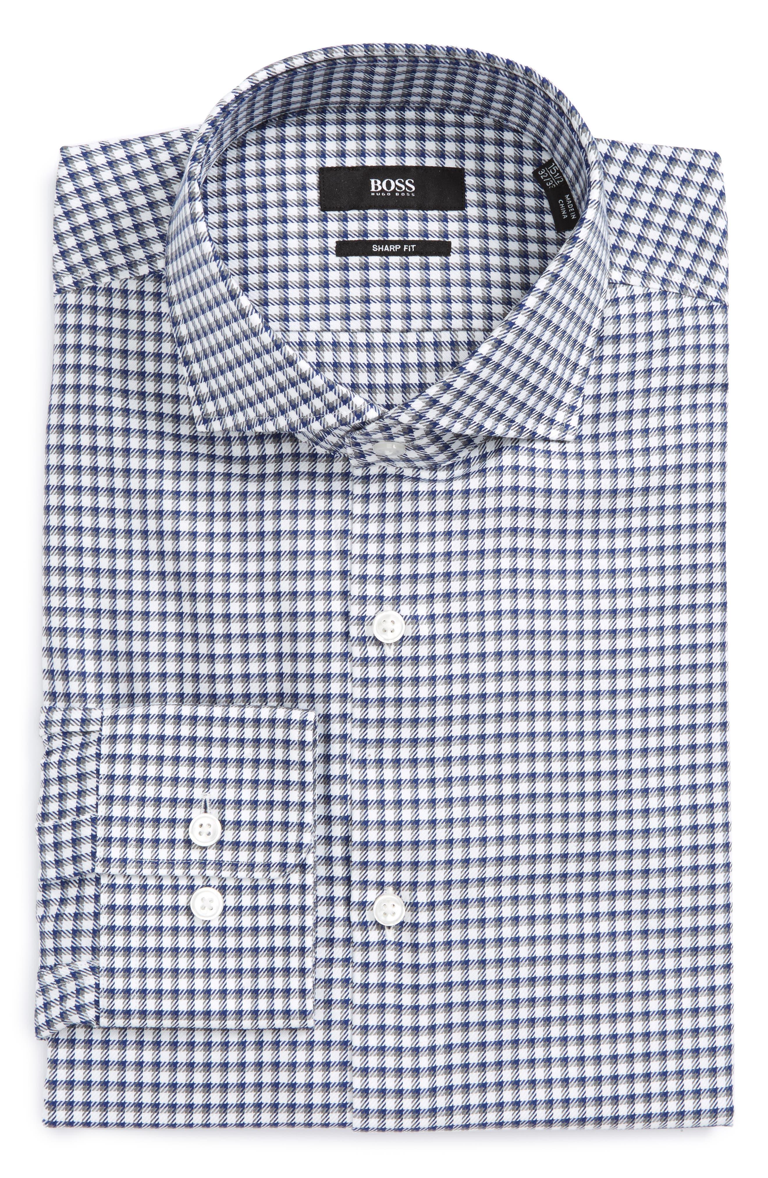 Mark Sharp Fit Check Dress Shirt,                         Main,                         color, Grey