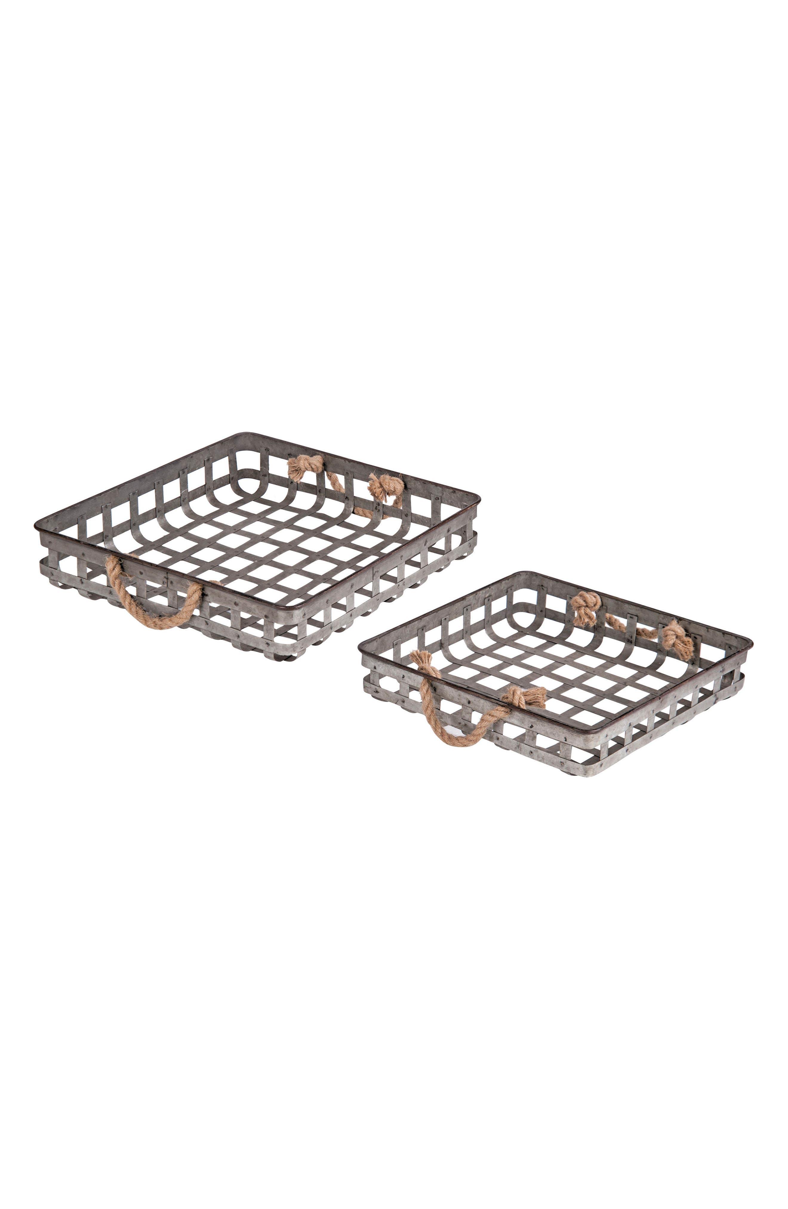 Set of 2 Nesting Basket Trays,                         Main,                         color, Metal/ Rope