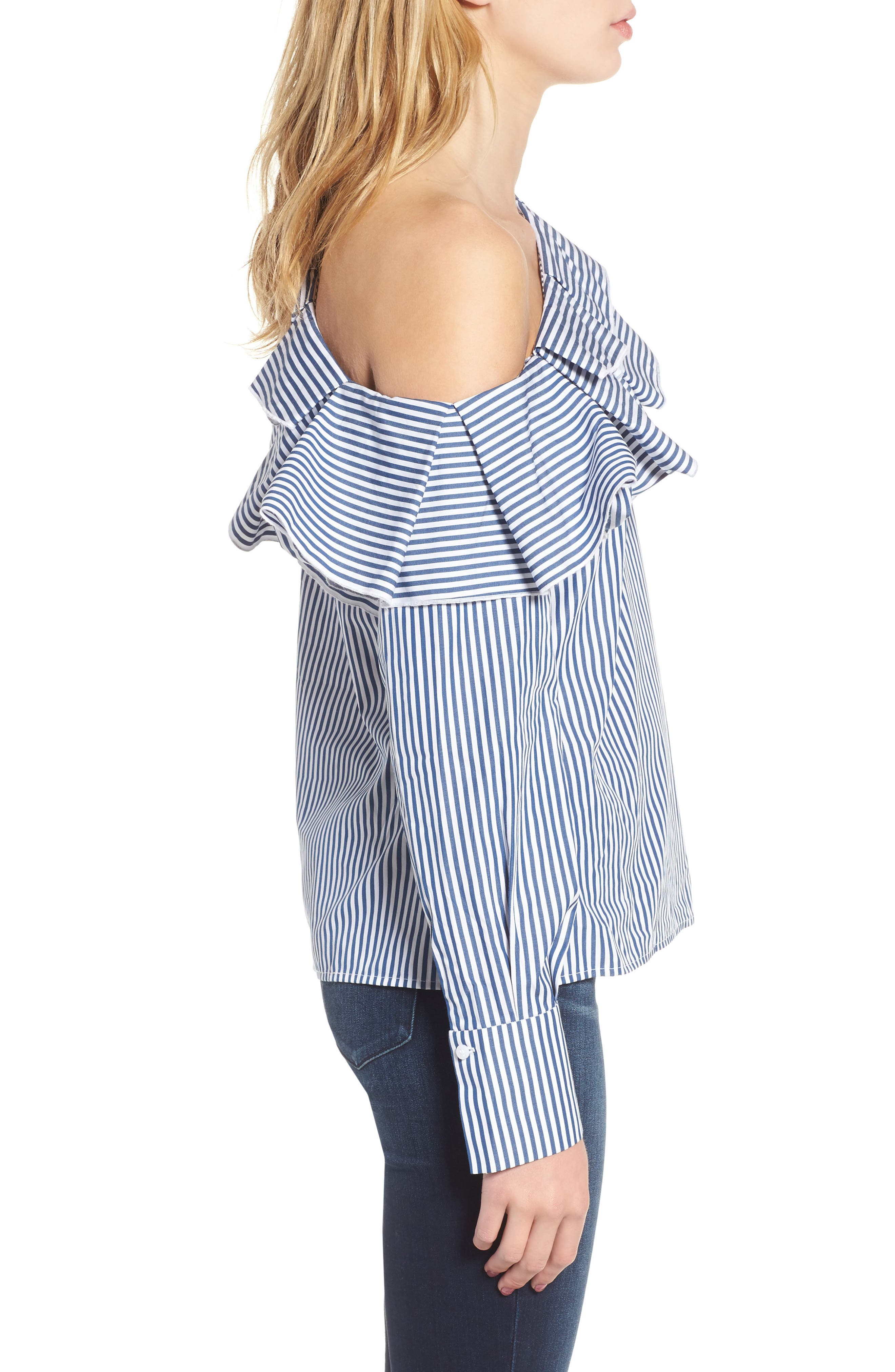 Ruffle One-Shoulder Blouse,                             Alternate thumbnail 3, color,                             Navy M Betty St