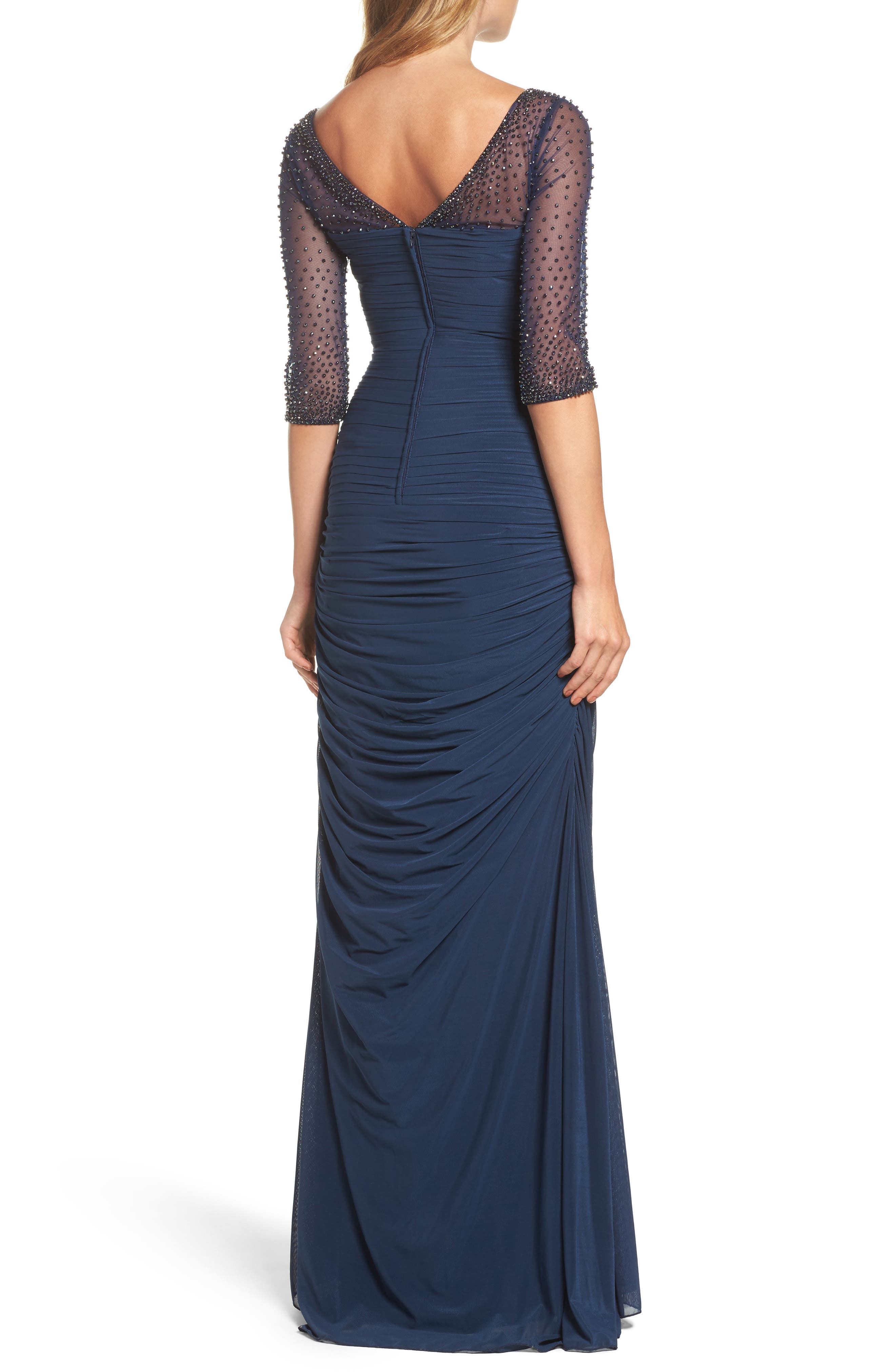 Embellished Mesh Ruched Jersey Gown,                             Alternate thumbnail 2, color,                             Navy