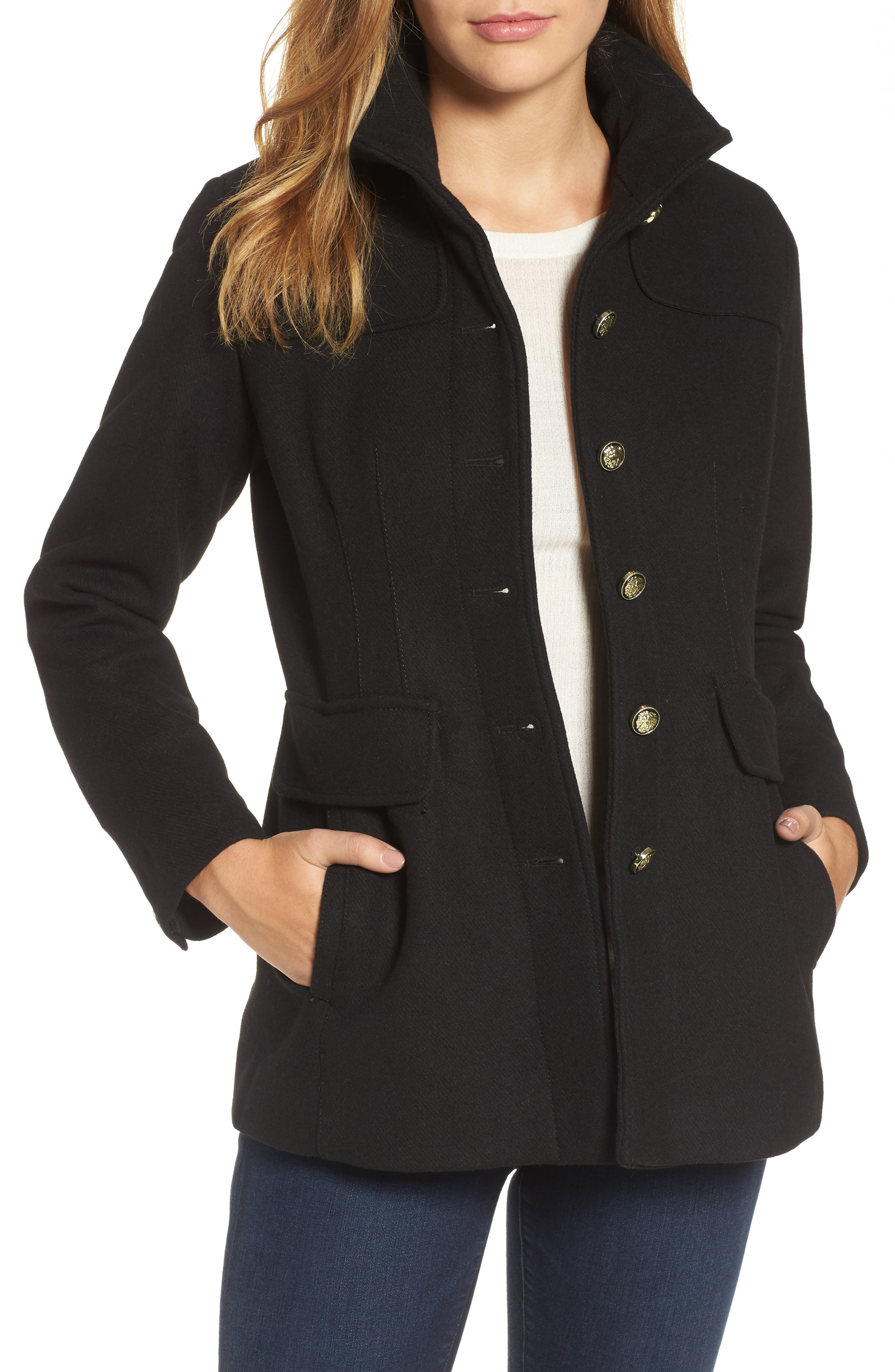 Wool Blend Coat,                         Main,                         color, Black