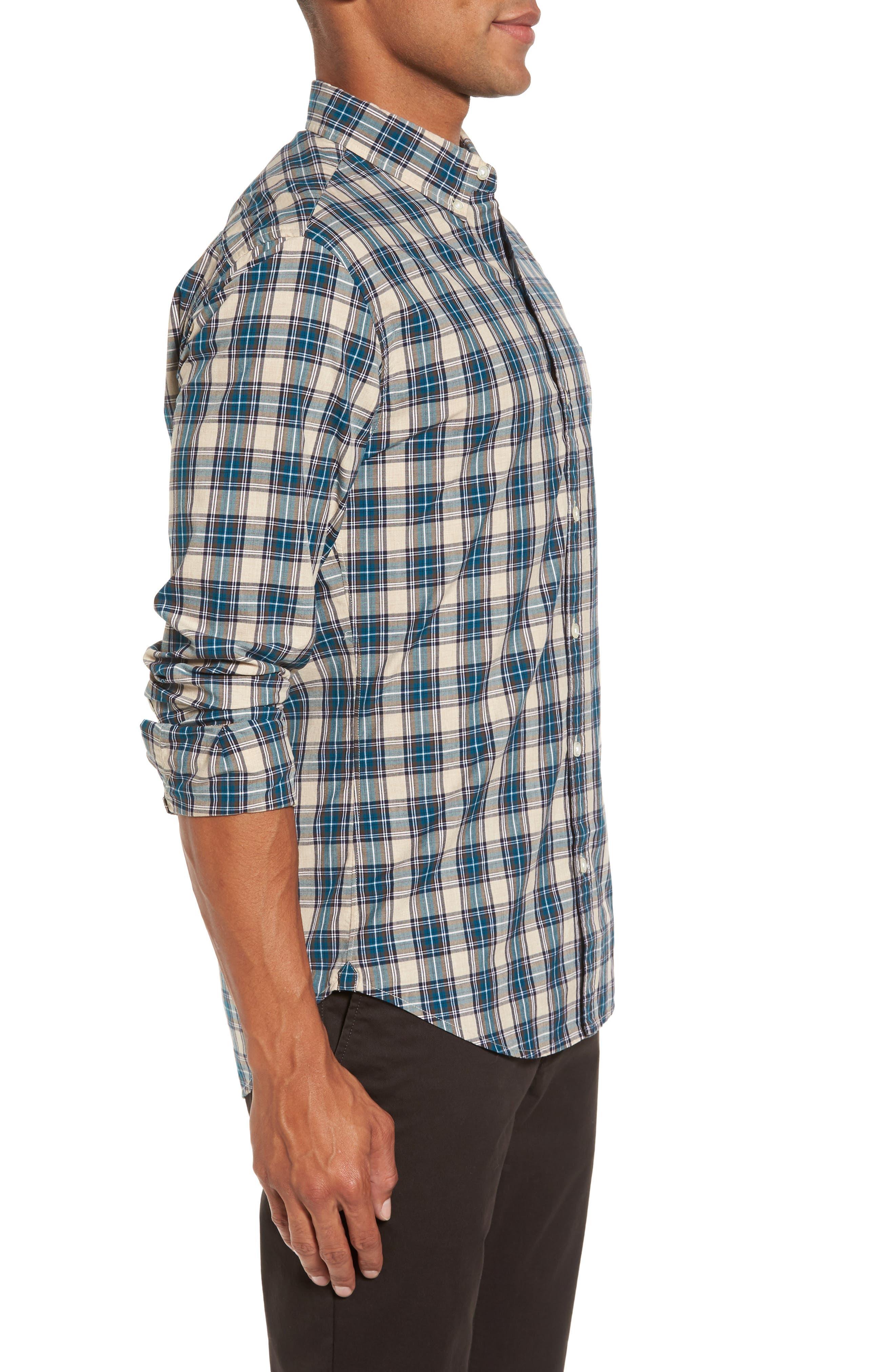 Washed Slim Fit Plaid Sport Shirt,                             Alternate thumbnail 3, color,                             Blue Plaid