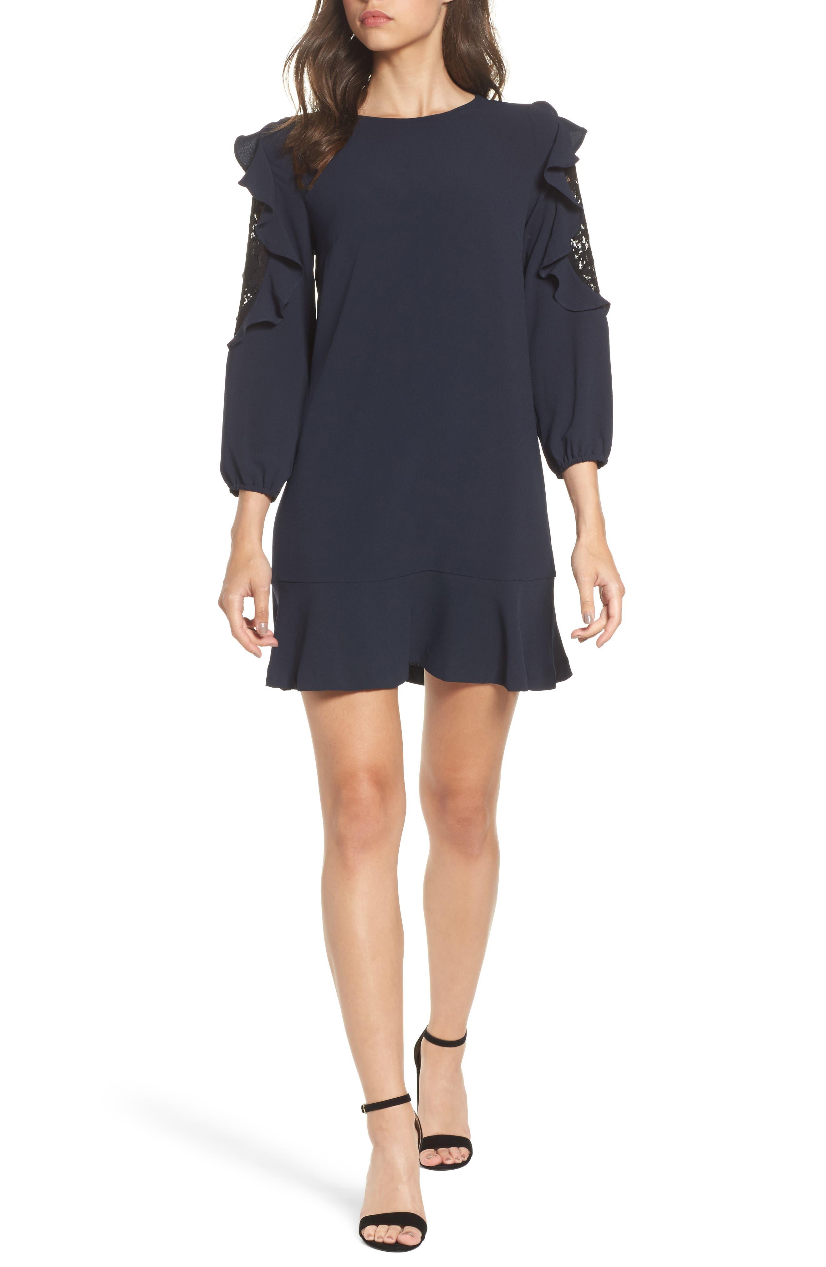 Stefani Ruffle Lace Dress,                         Main,                         color, Navy/ Black