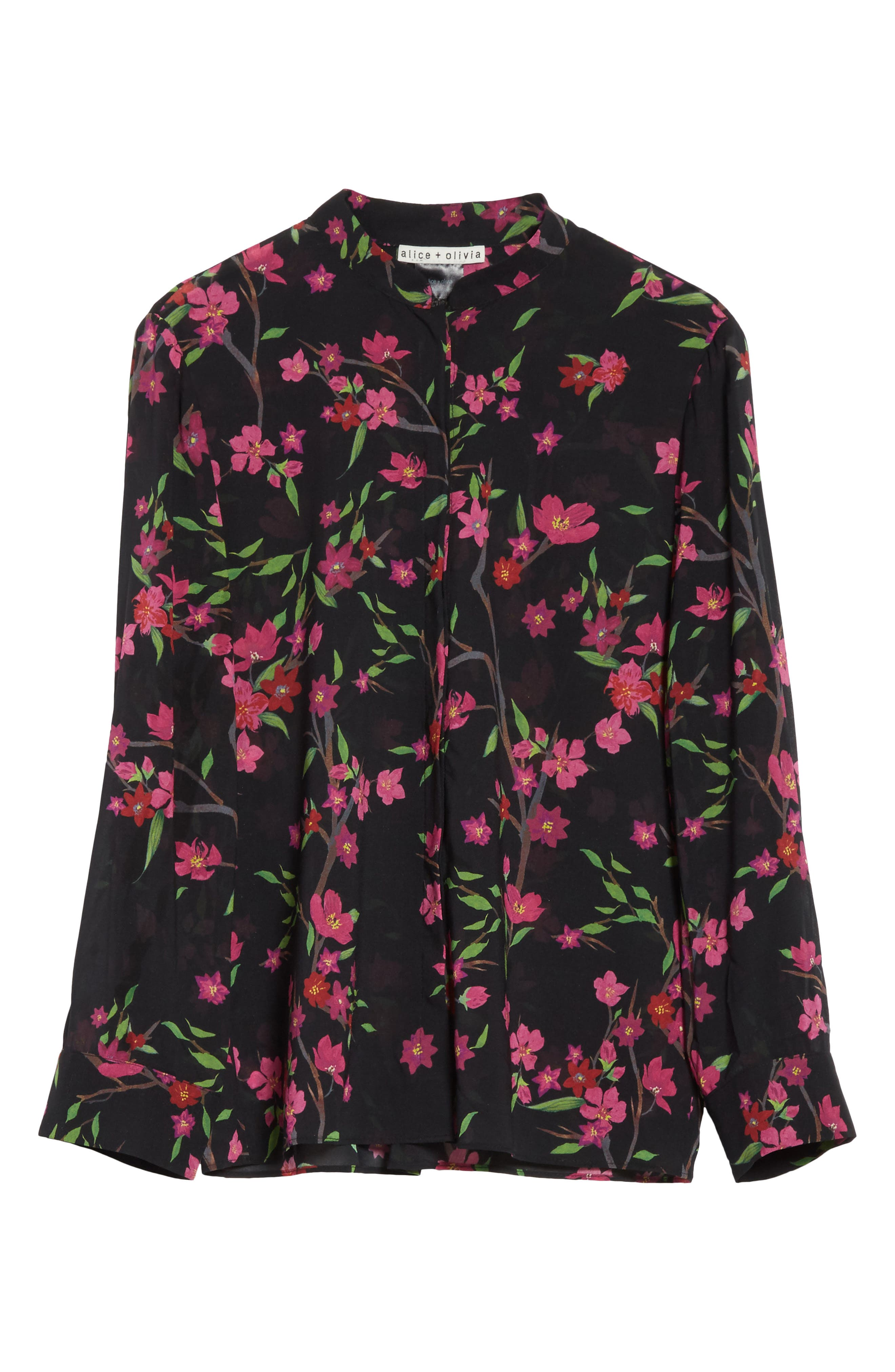 Eloise Mandarin Collar Blouse,                             Alternate thumbnail 7, color,                             Sakura Floral/ Black