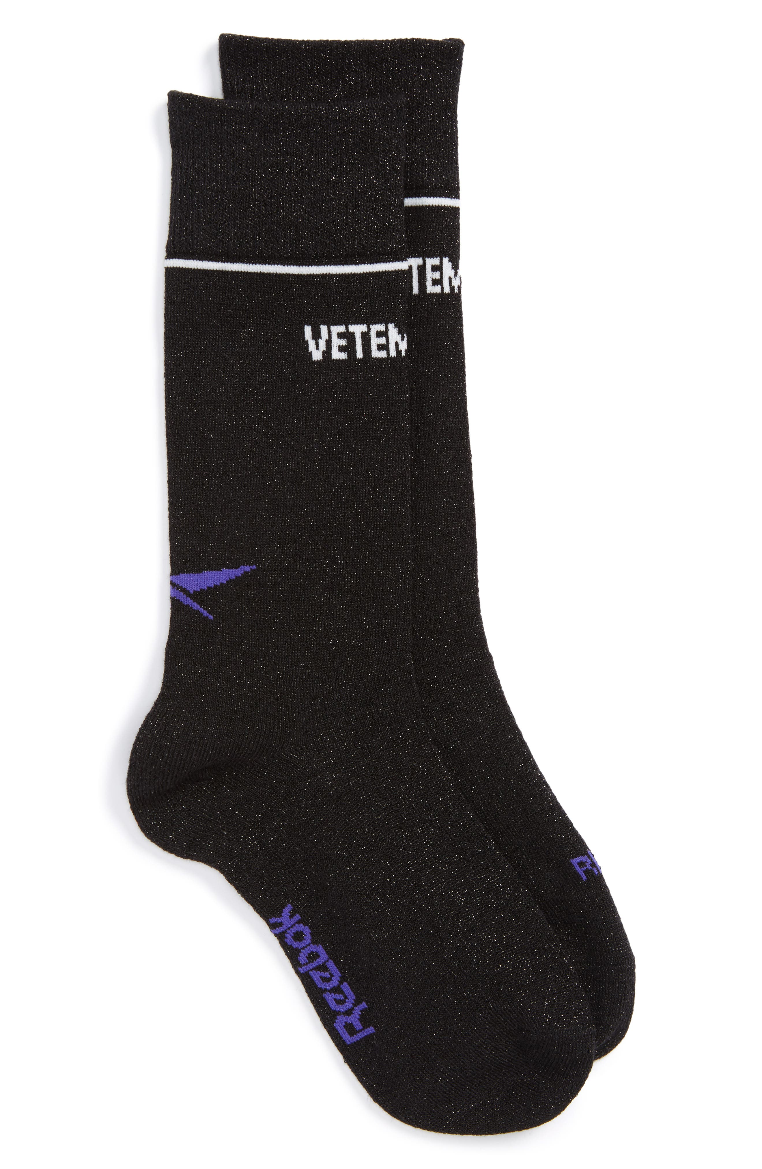 Metallic Logo Socks,                             Main thumbnail 1, color,                             Black