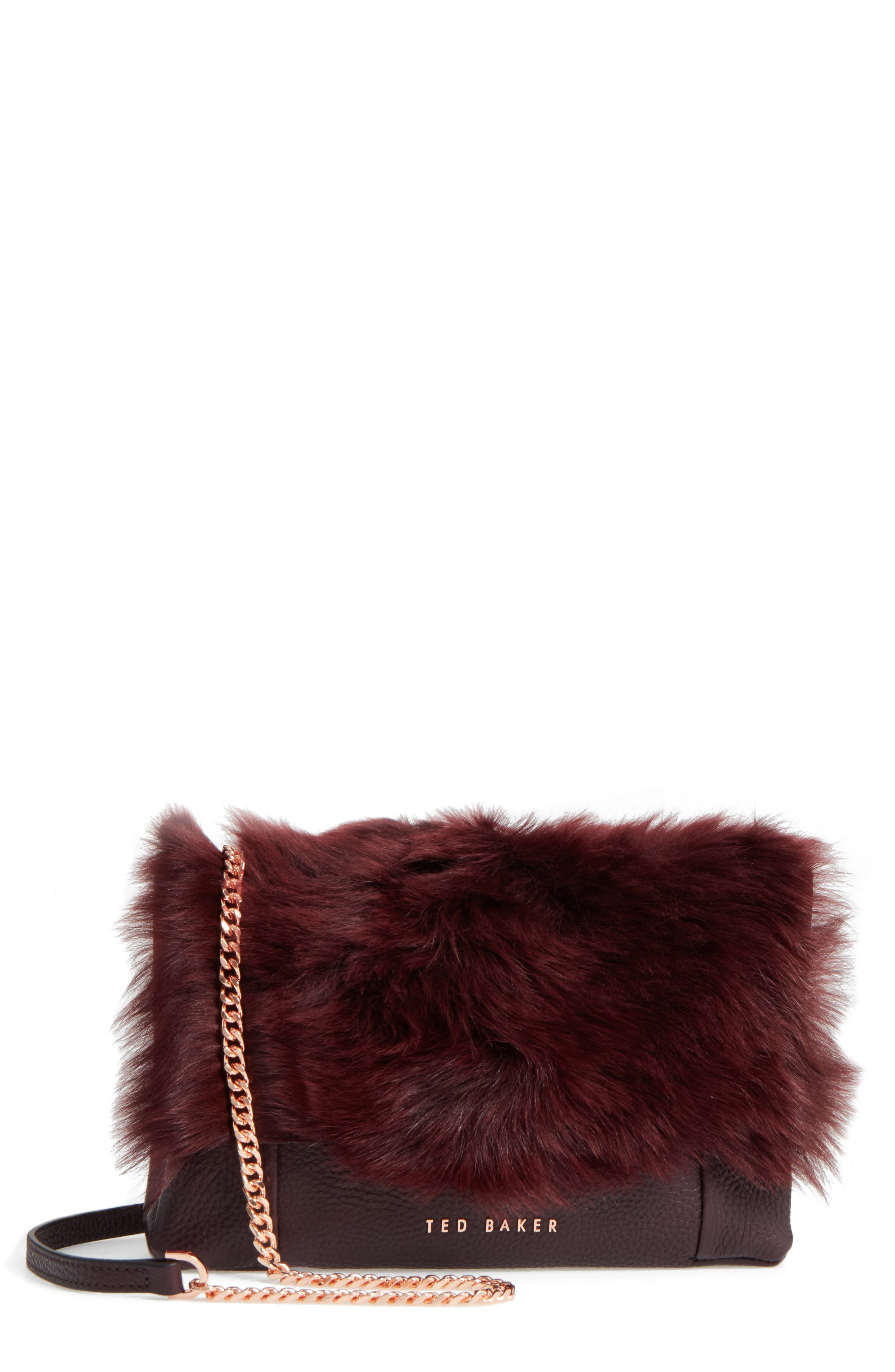 Fuzzi Genuine Shearling & Leather Convertible Crossbody Bag,                             Main thumbnail 1, color,                             Maroon