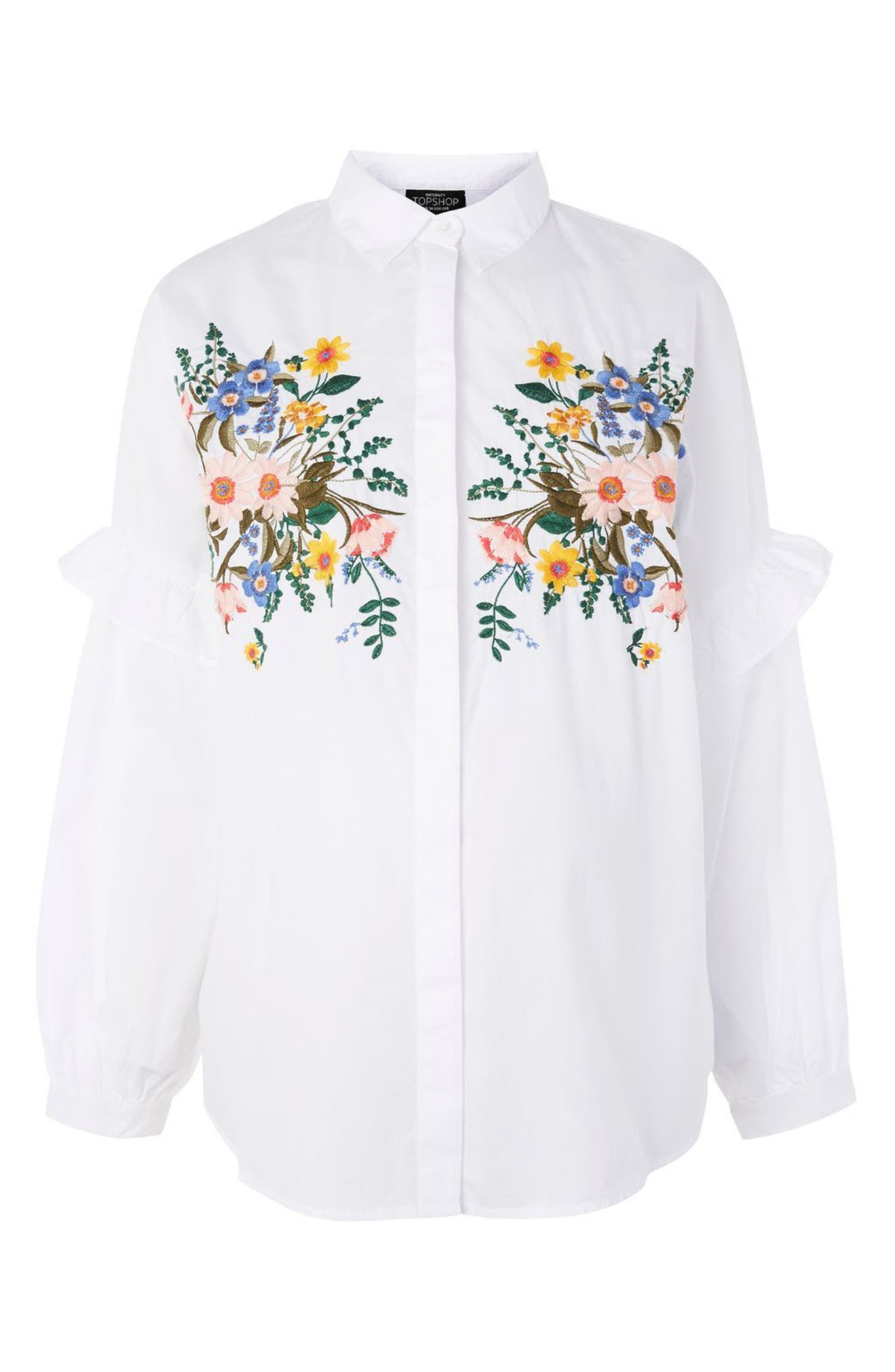 Forest Floral Embroidered Maternity Shirt,                             Main thumbnail 1, color,                             White Multi