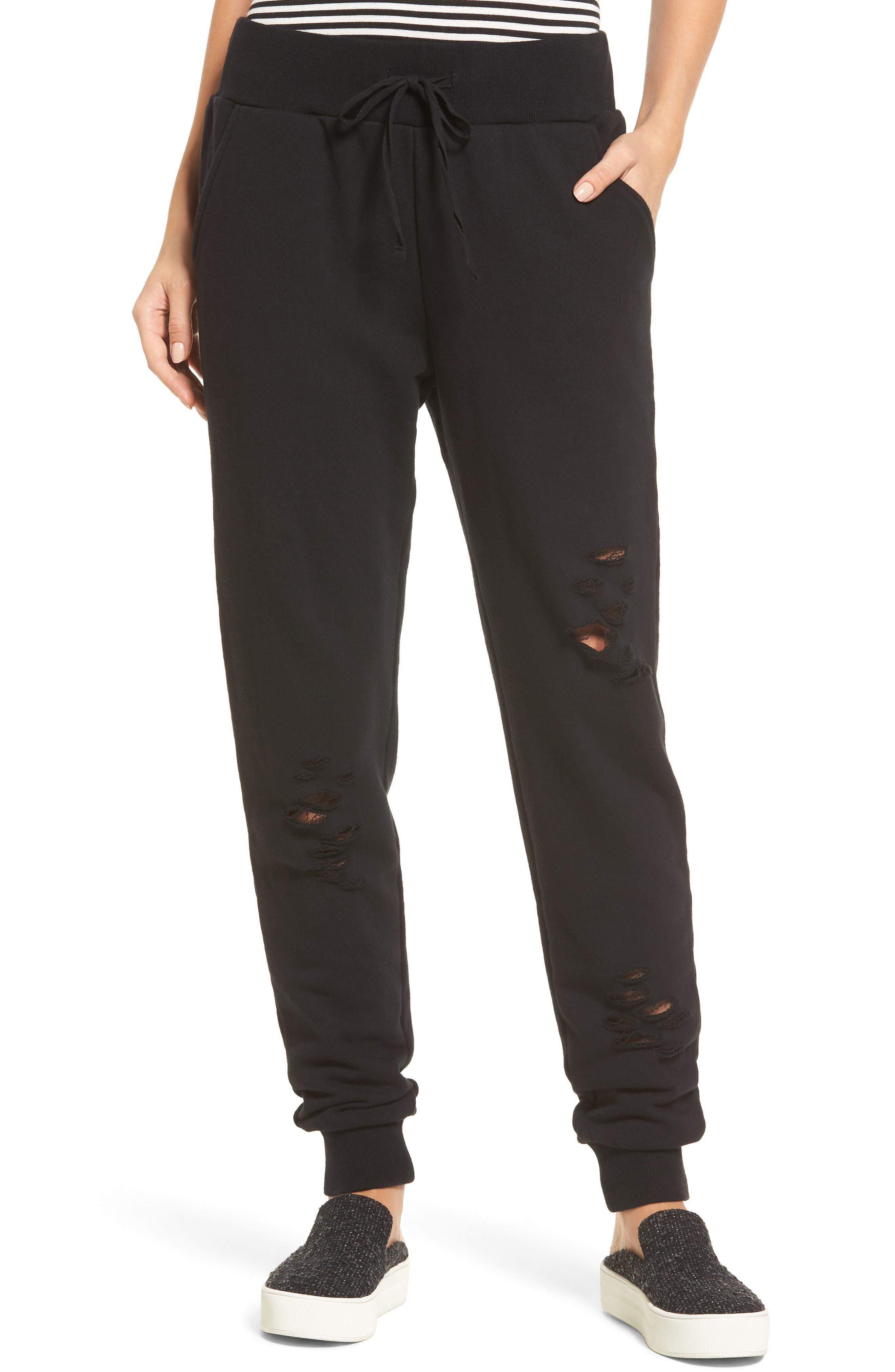 Distressed Jogger Pants,                         Main,                         color, Black