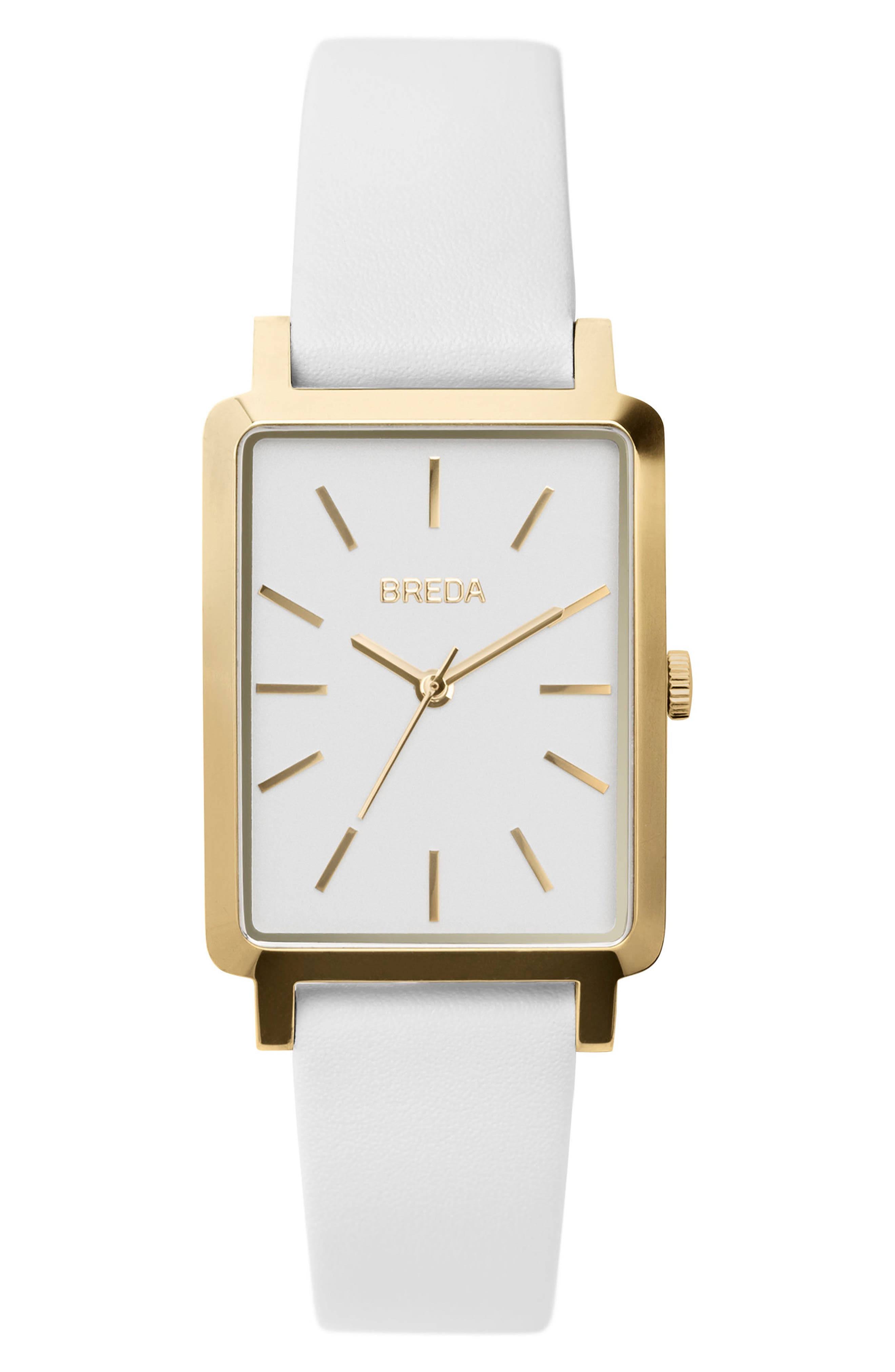 Baer Rectangular Leather Strap Watch, 26mm,                             Main thumbnail 1, color,                             White/ Gold