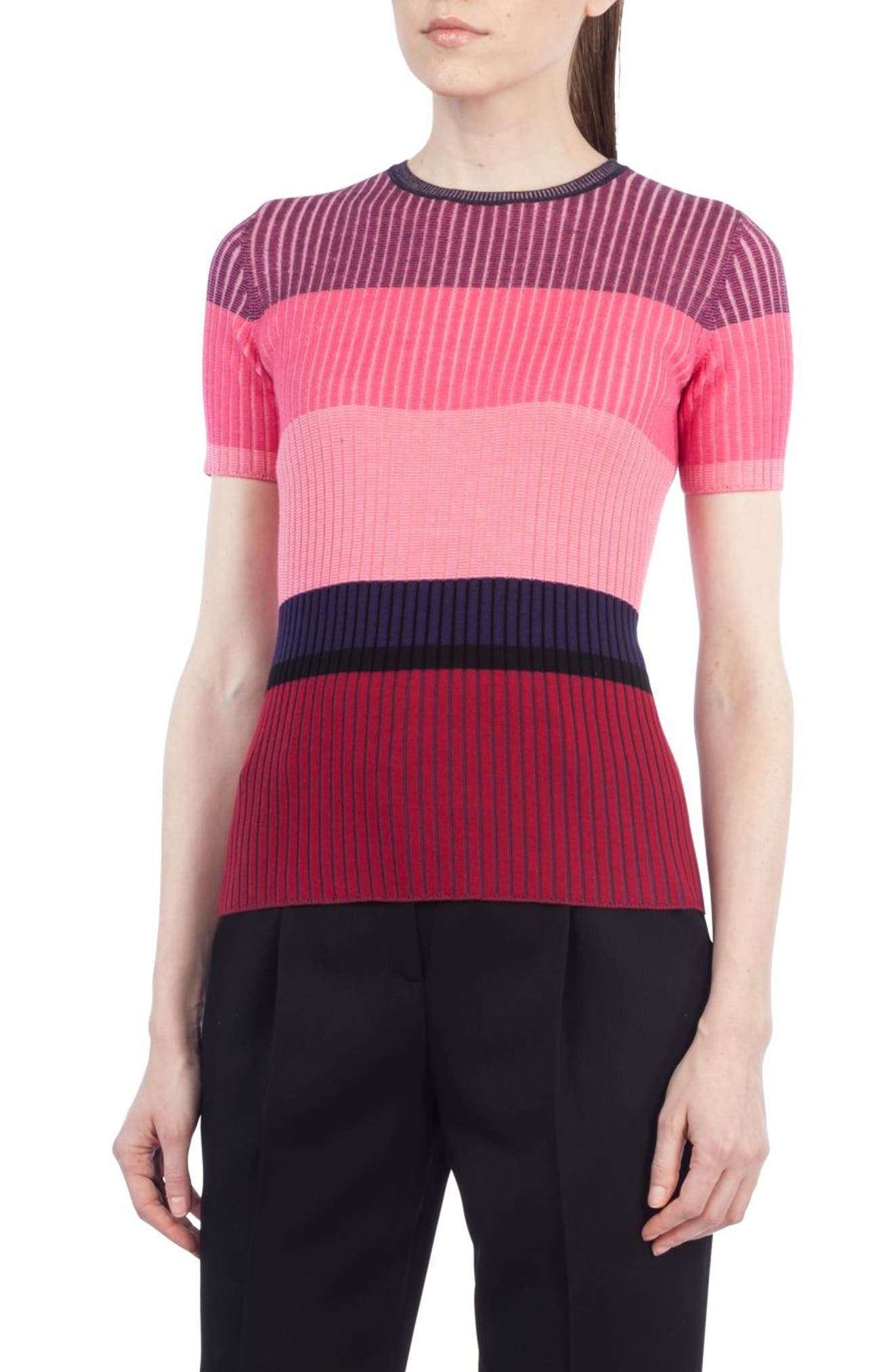 Colorblock Wool Top,                         Main,                         color, Sunset