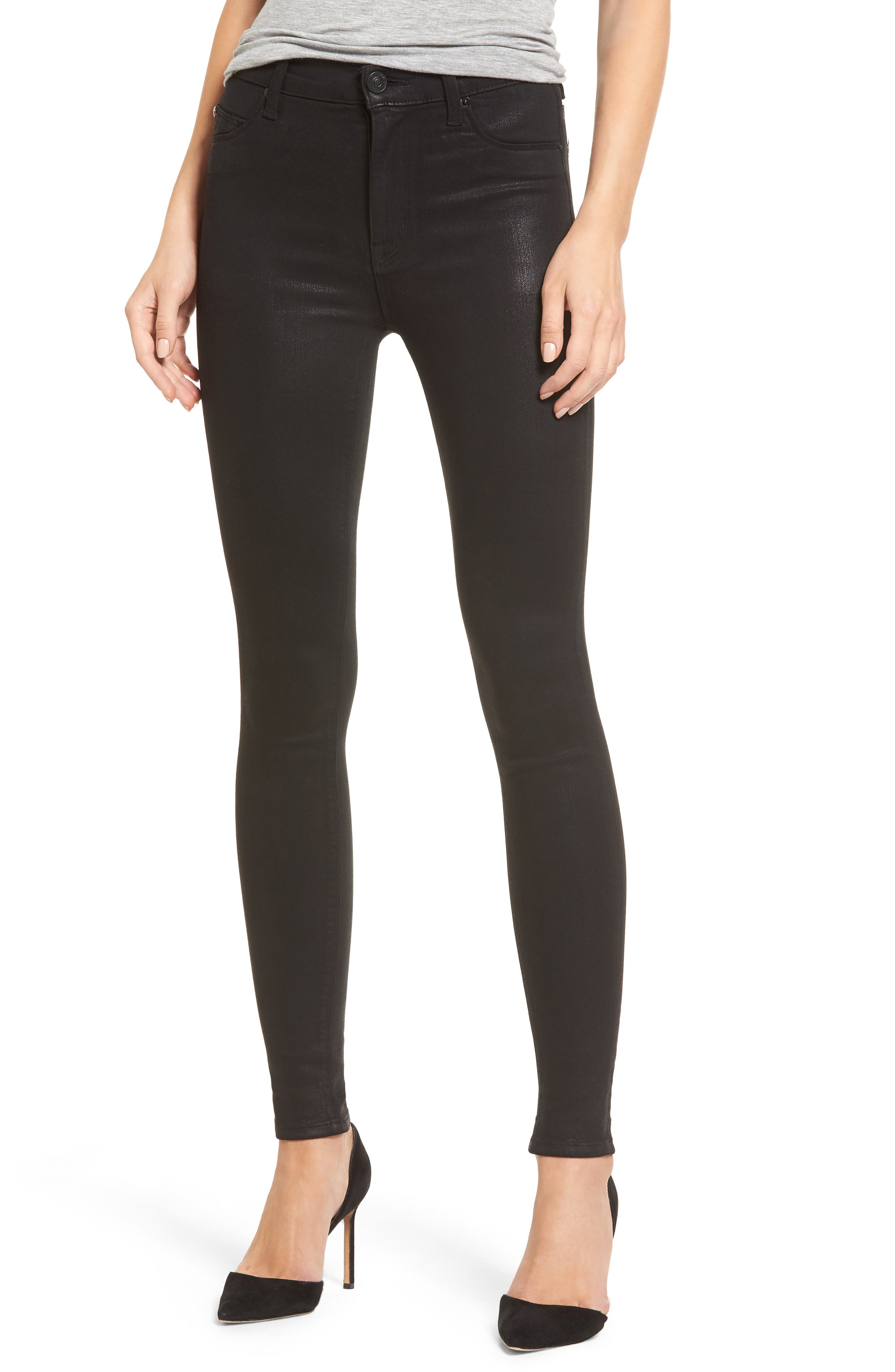 Main Image - Hudson Jeans Barbara High Waist Skinny Jeans (Noir Coated)