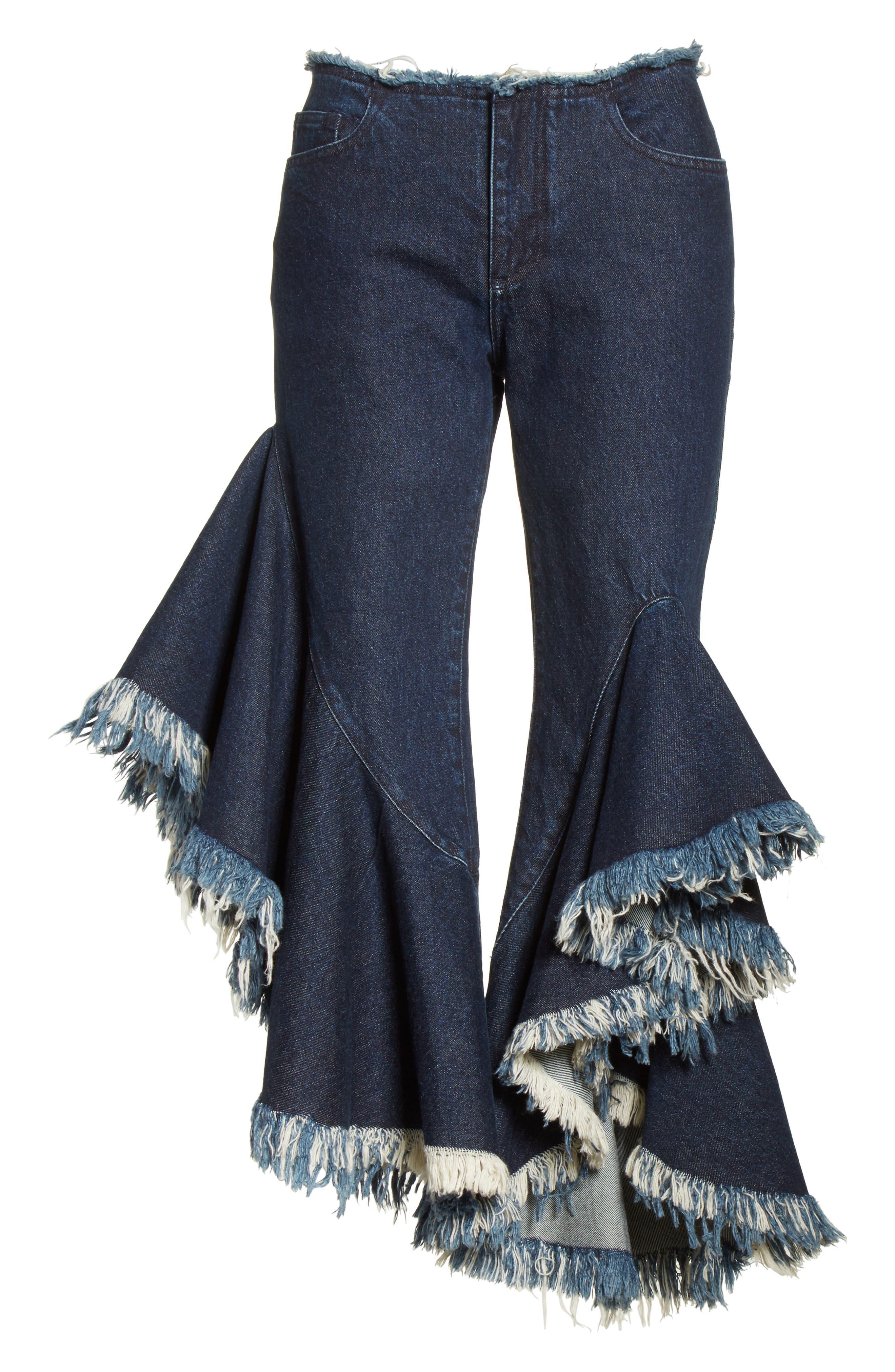 Marques'Almeida Frill Flare Crop Jeans,                             Alternate thumbnail 9, color,                             Indigo