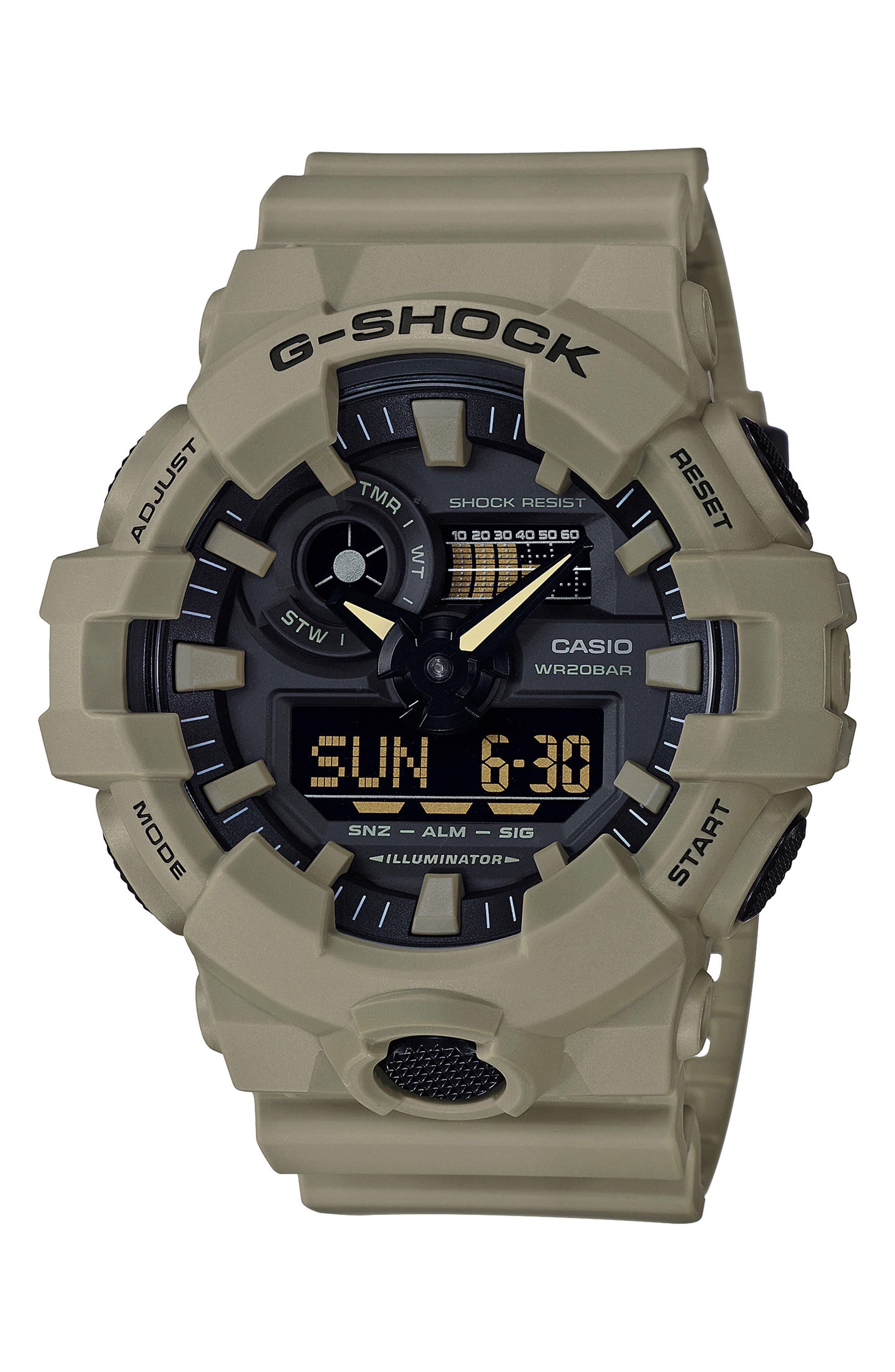 Military Ana-Digi Watch, 53mm,                             Main thumbnail 1, color,                             Beige/ Black/ Beige