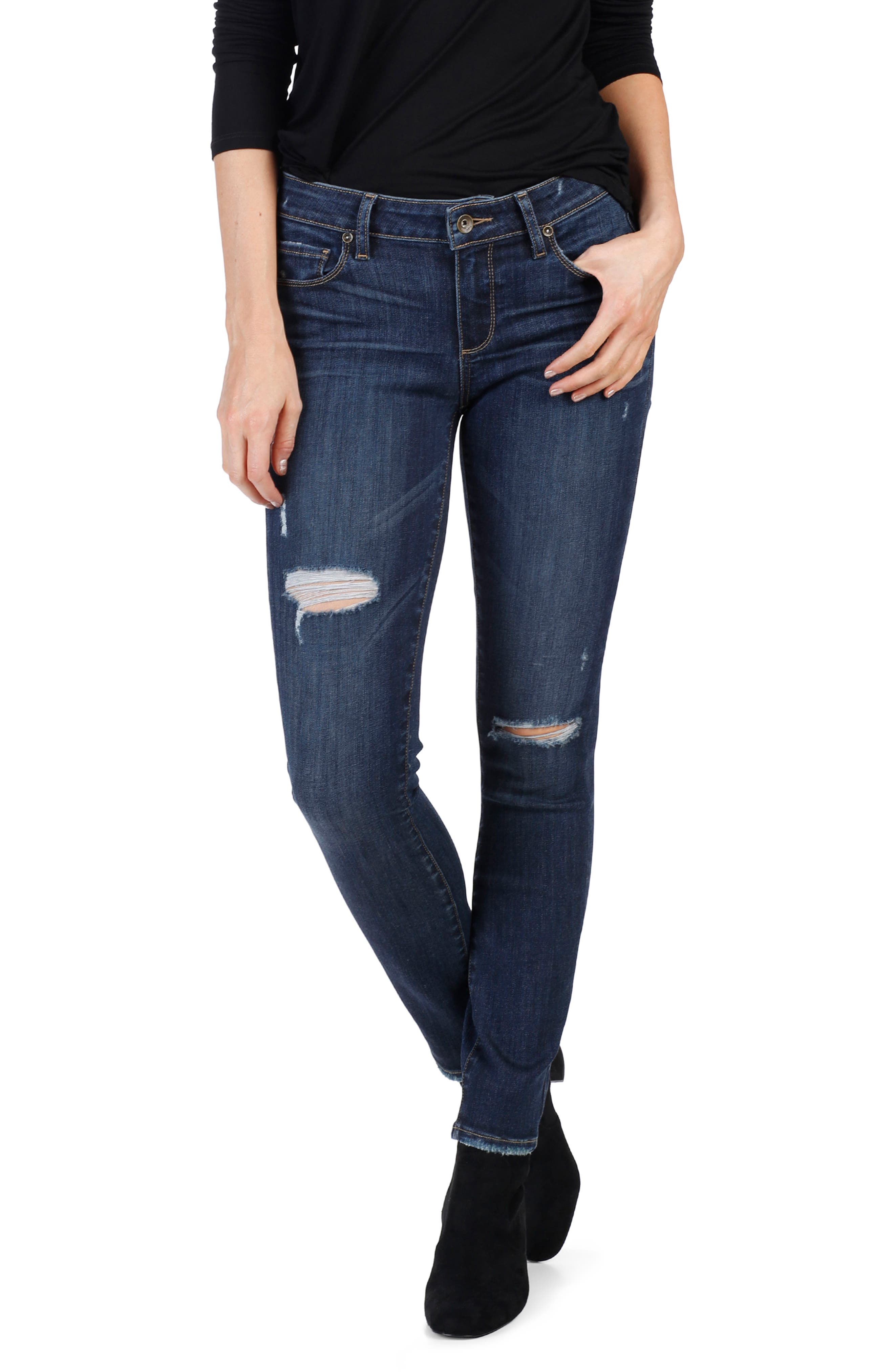 Main Image - PAIGE Transcend Vintage - Verdugo Ultra Skinny Jeans (Clearly Destructed)
